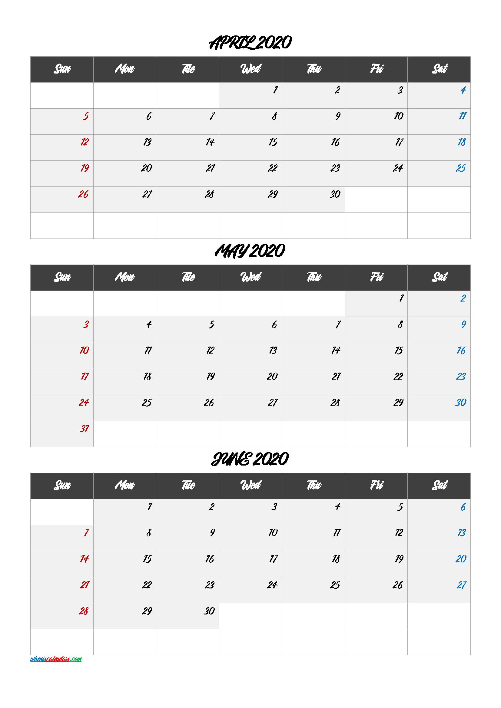 Free Calendar April May June 2020