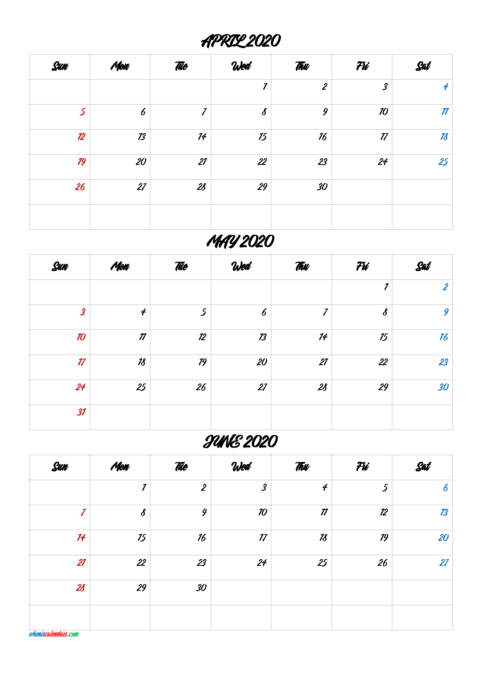 April May June 2020 Three Month Calendar Printable