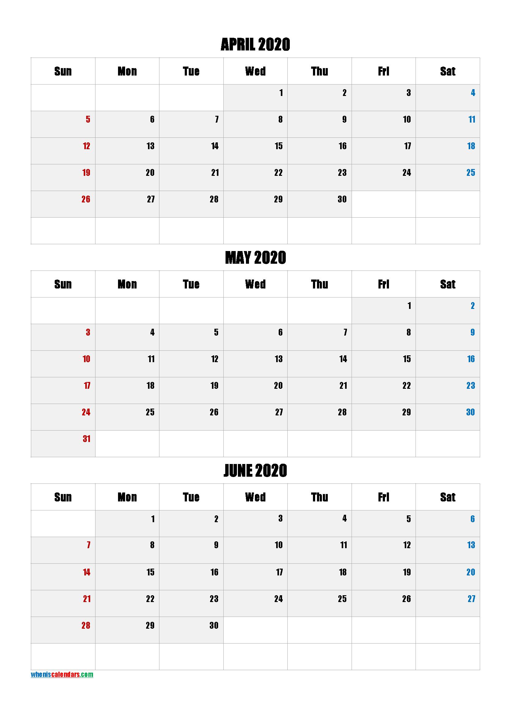 April May June 2020 Three Month Calendar