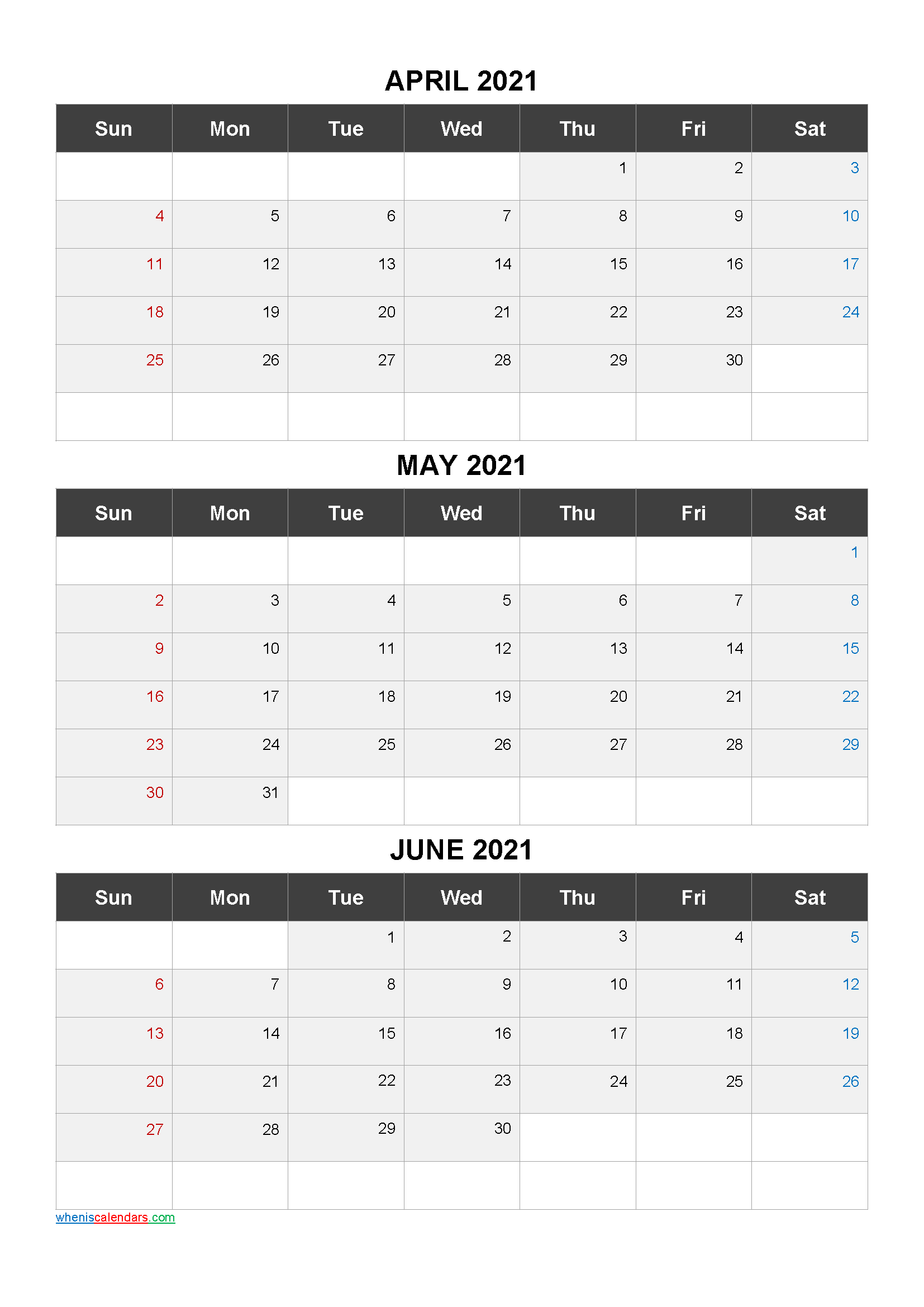 April May June 2021 Calendar Printable