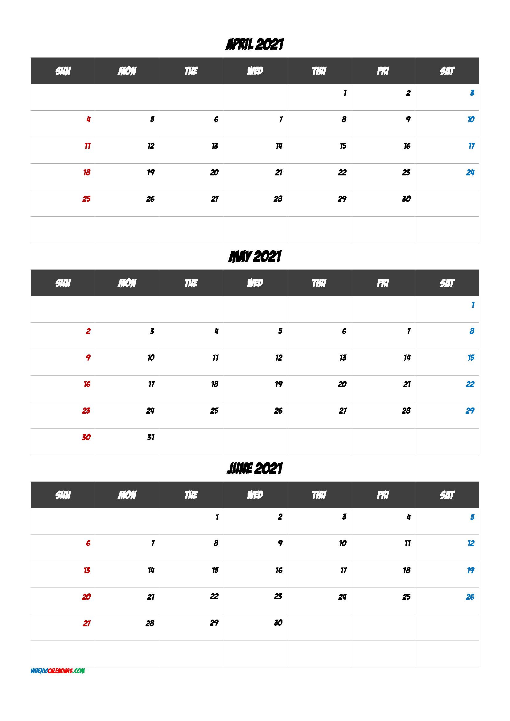 April May June 2021 Calendar Template