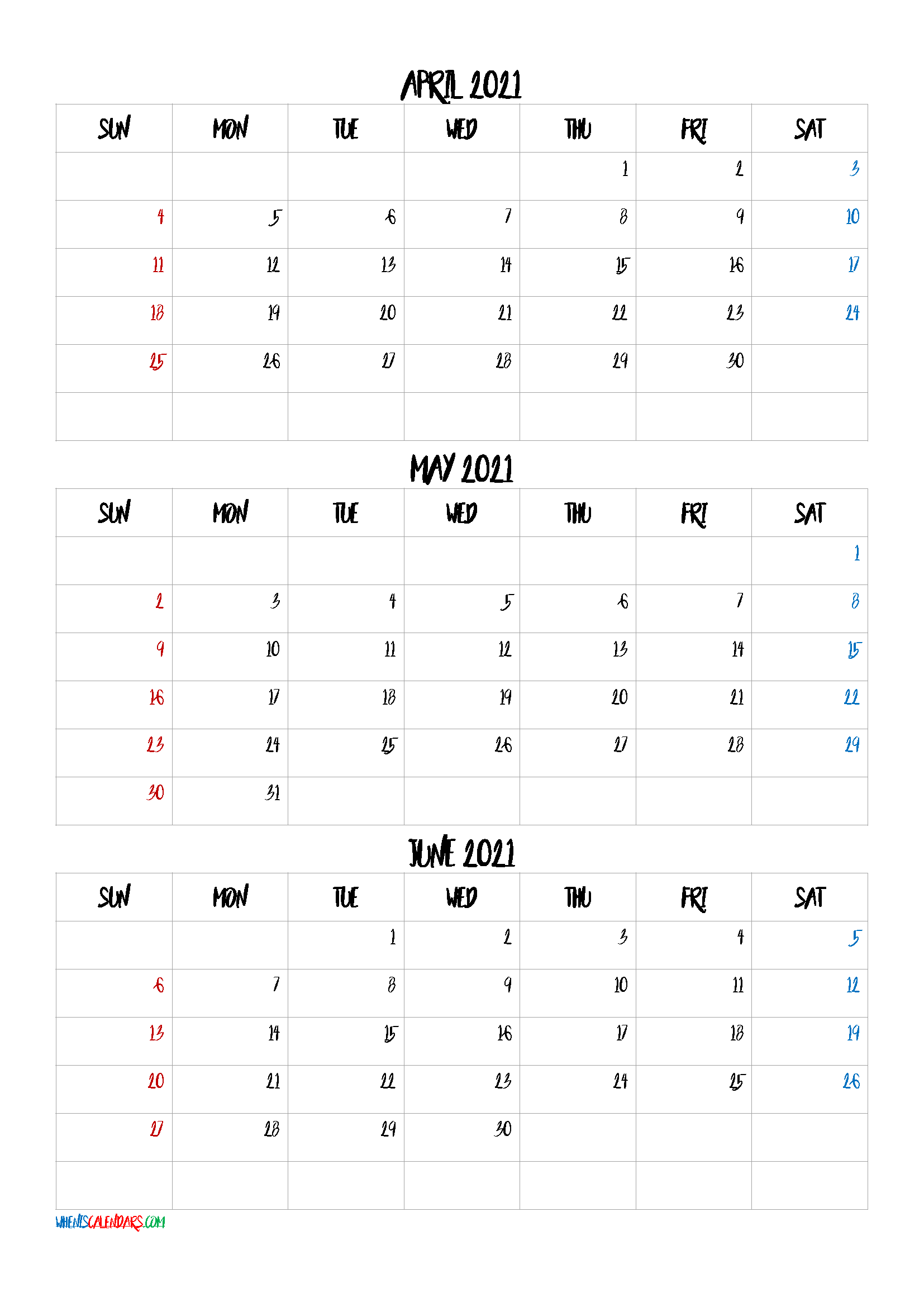 Free April May June 2021 Calendar