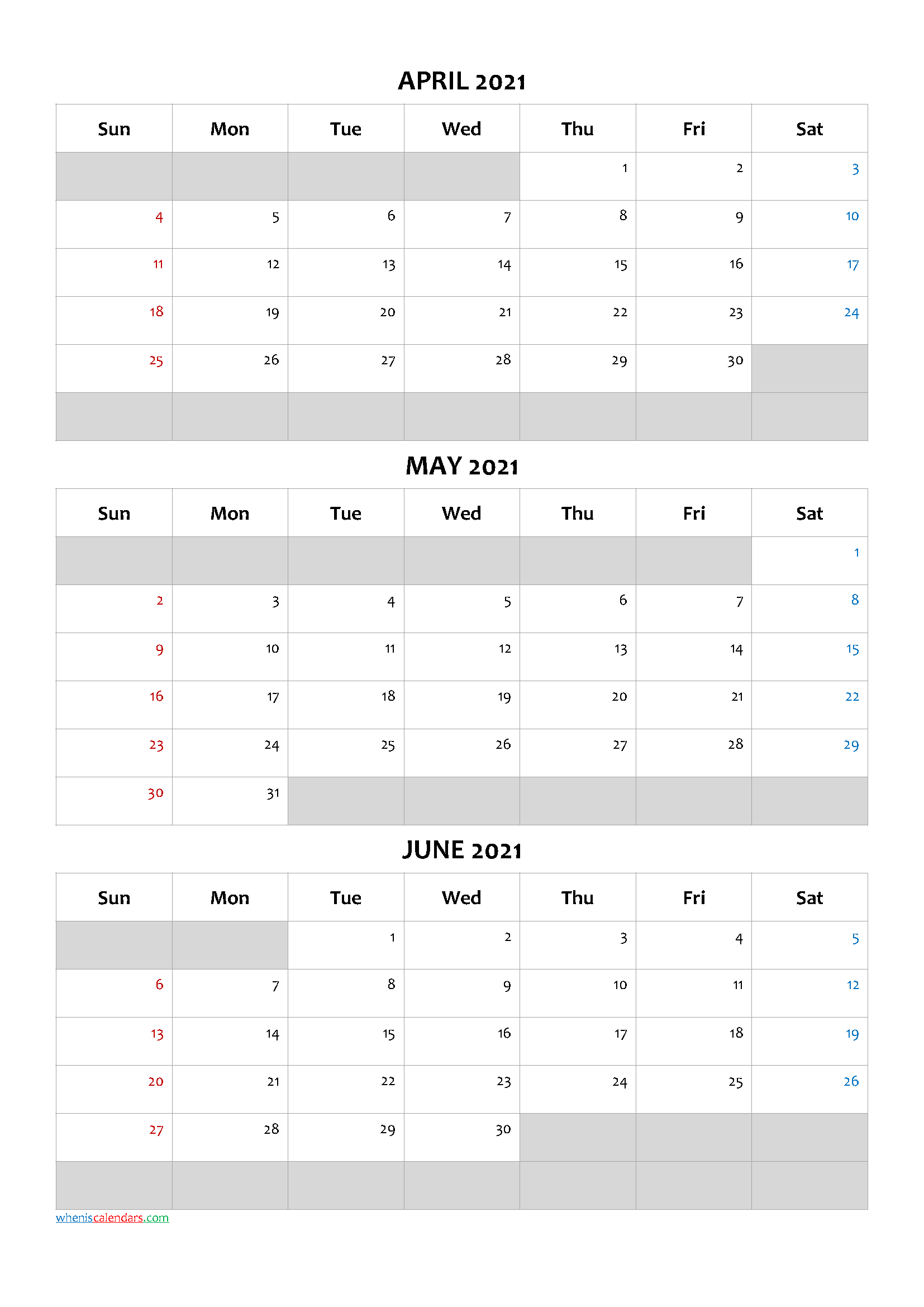 Free Calendar April May June 2021