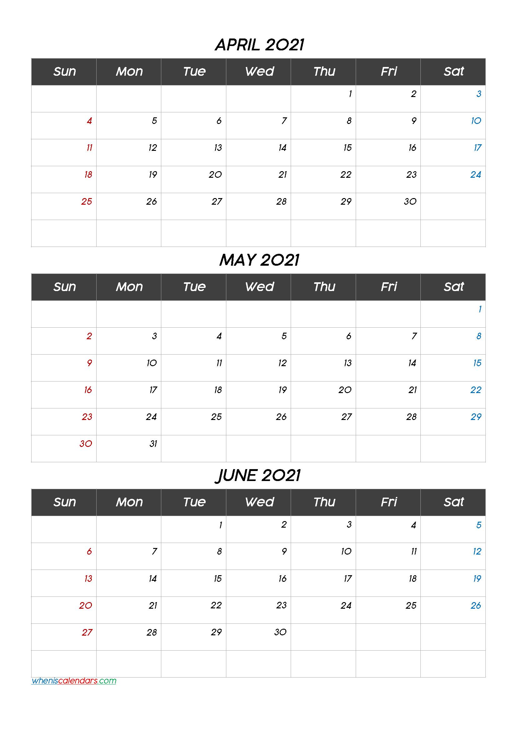 Calendar April May June 2021