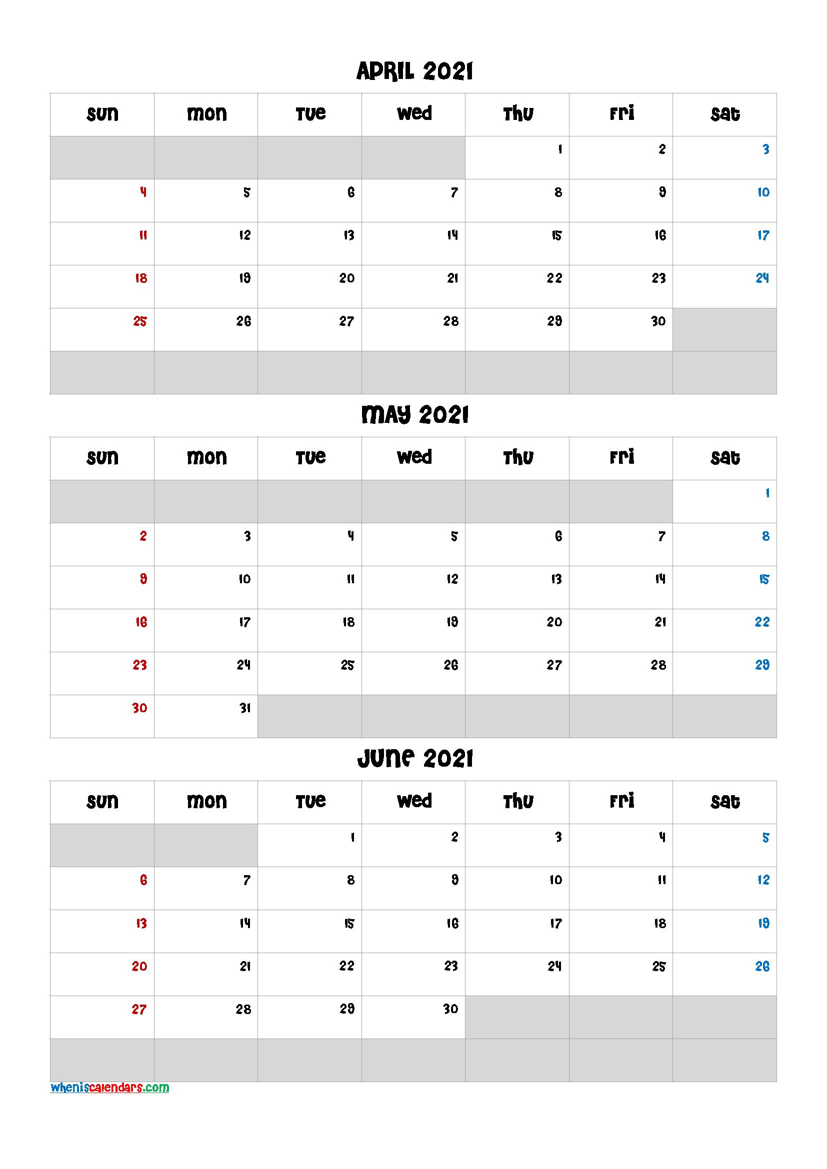 Free Calendar April May June 2021