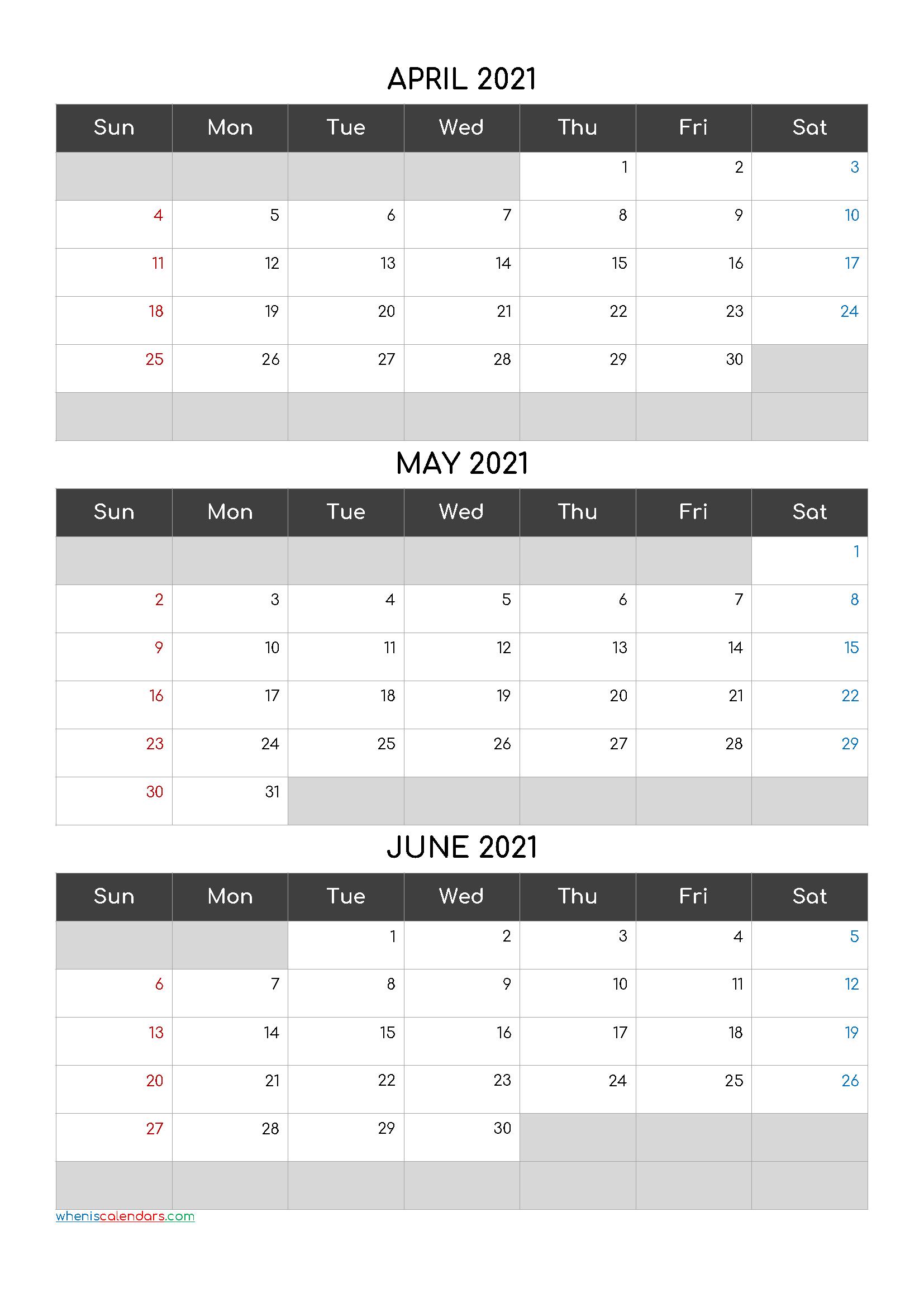 Printable Calendar April May June 2021