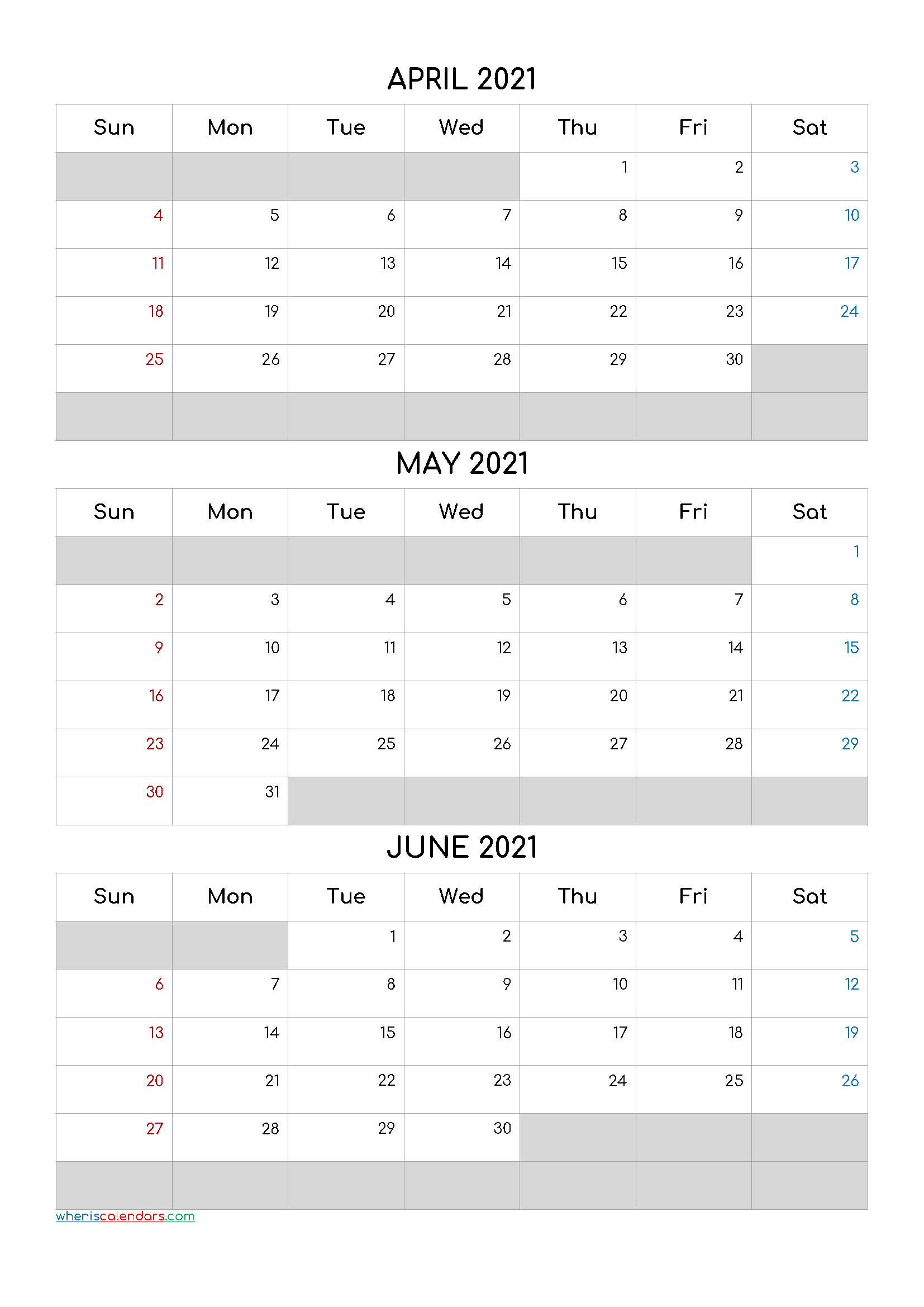 April May June 2021 Calendar Template