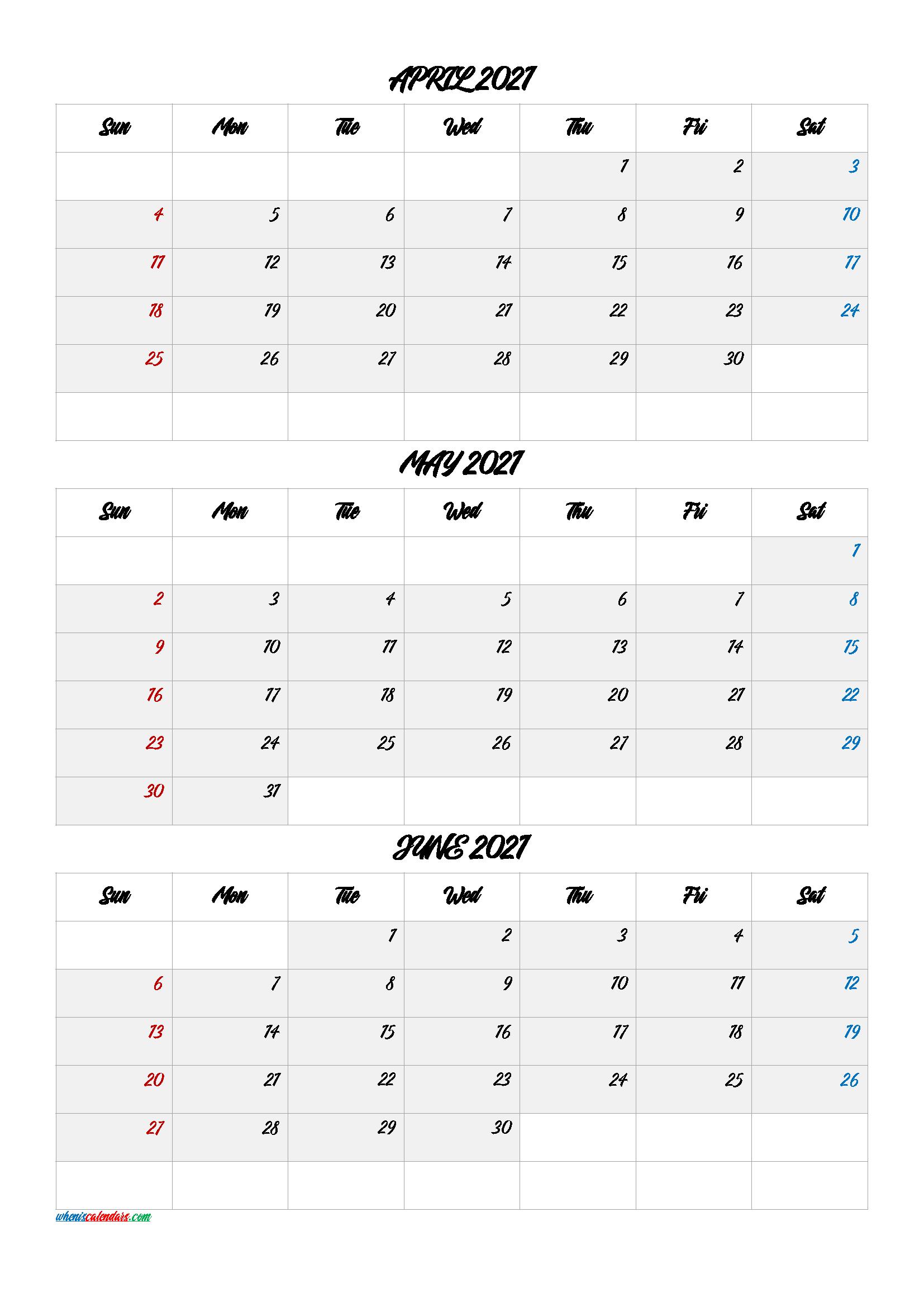 April May June 2021 Calendar Printable Free
