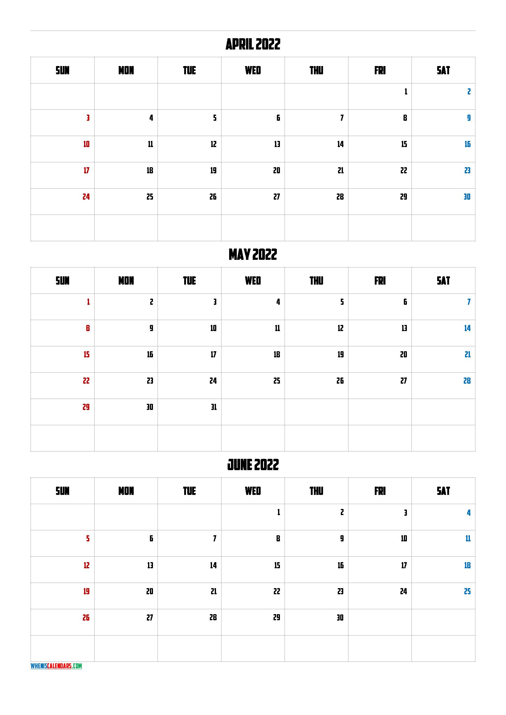 Free April May June 2022 Calendar