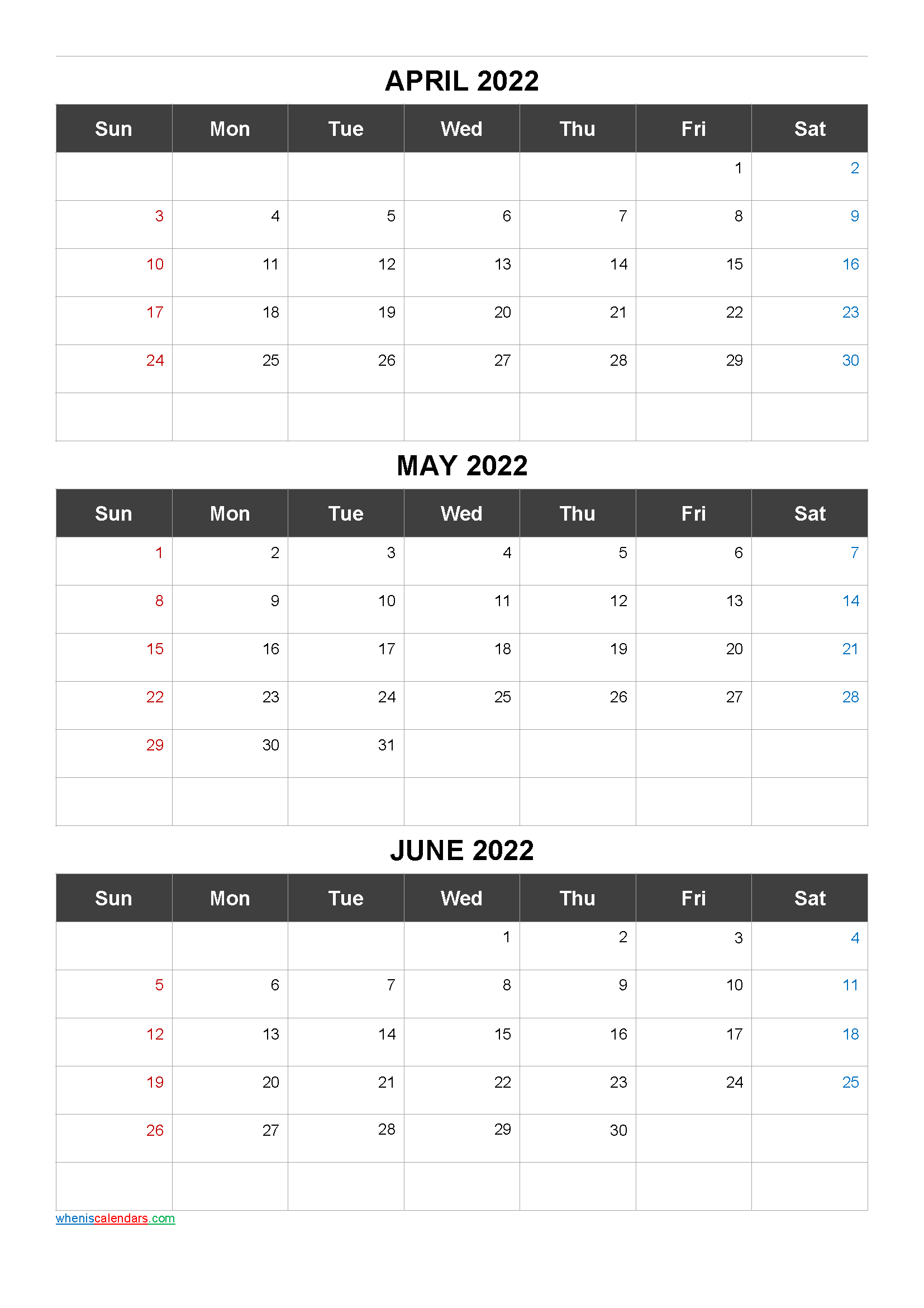 Free Calendar April May June 2022
