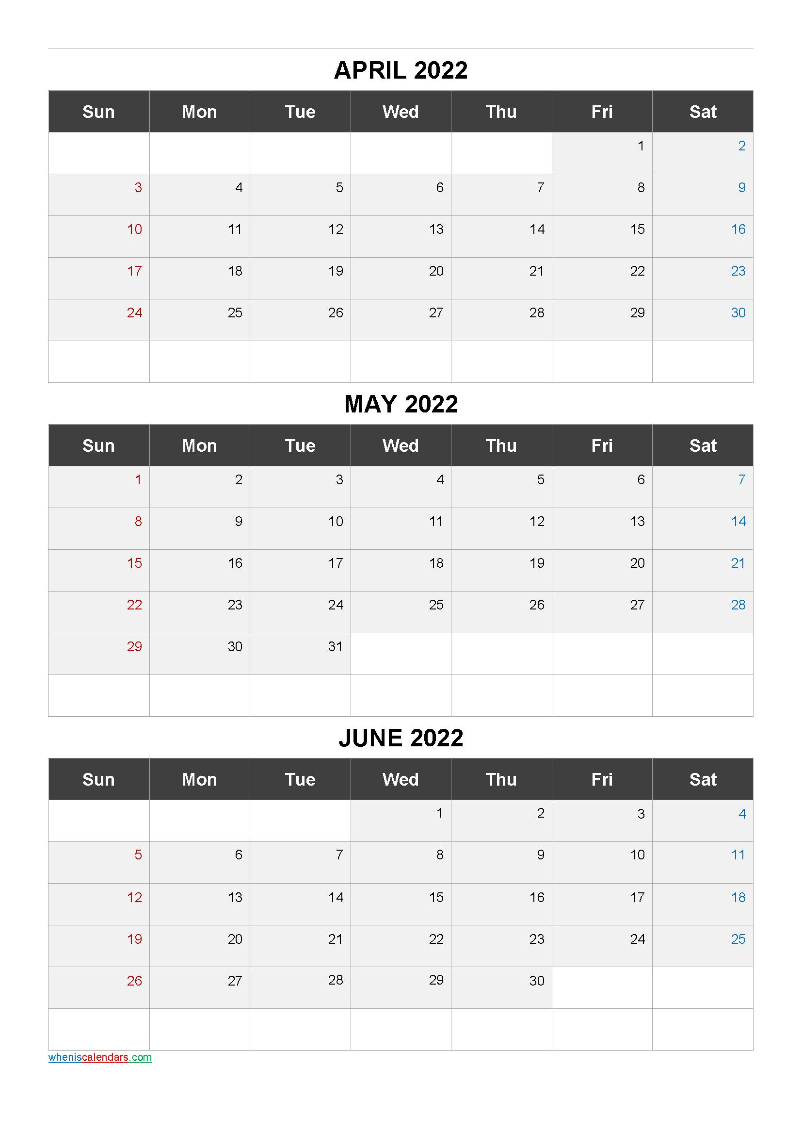April May June 2022 Calendar Printable