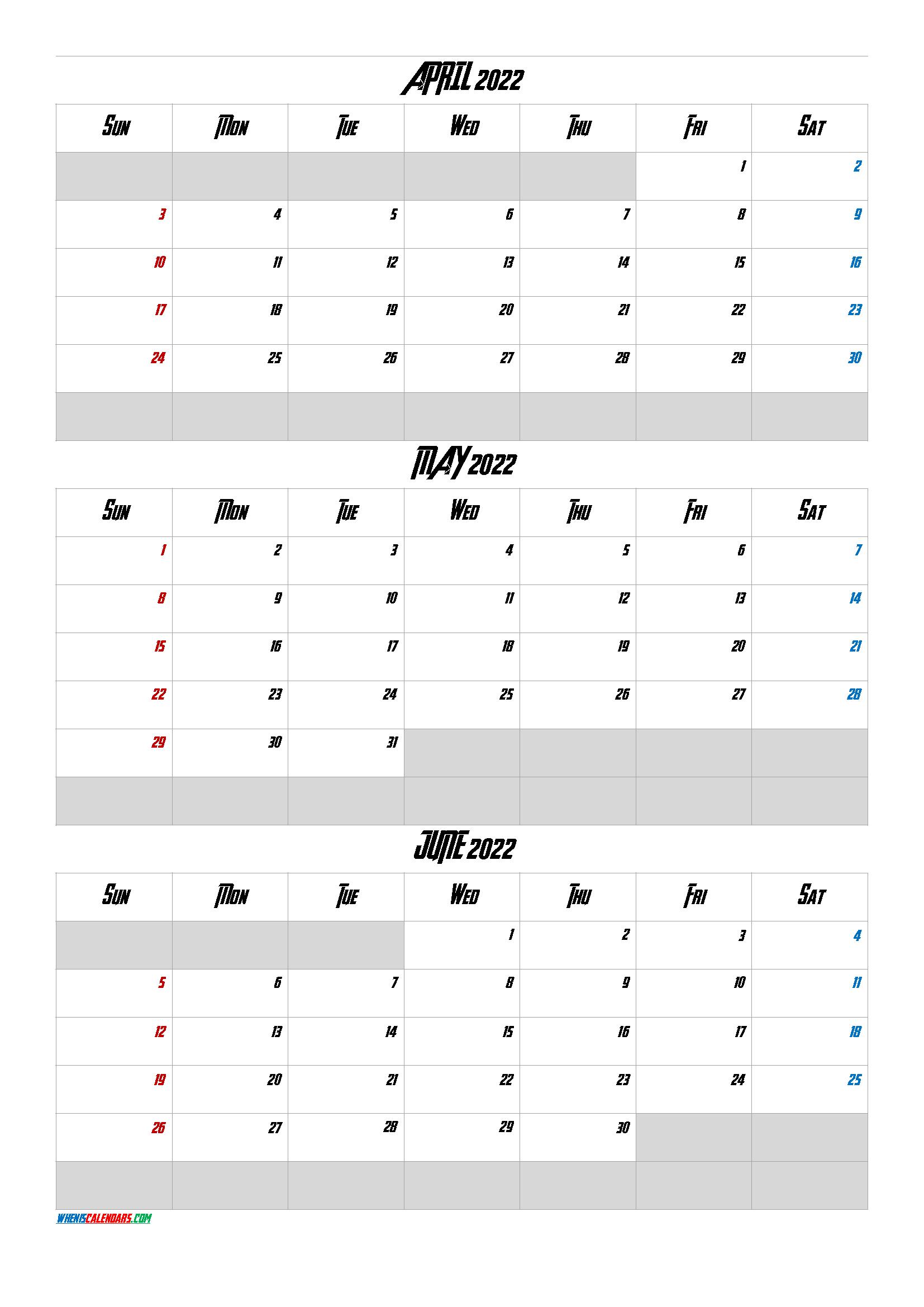 April May June 2022 Free Printable 3 Month Calendar