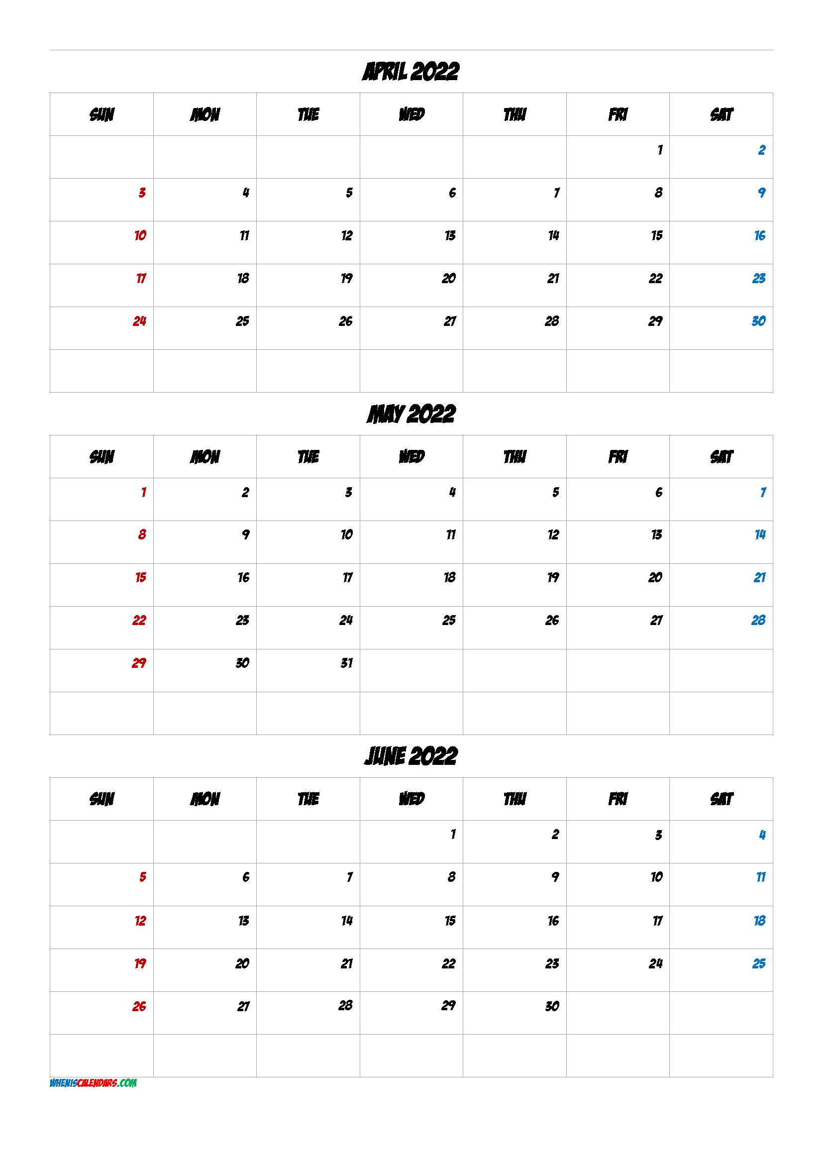 April May June 2022 Printable Calendar