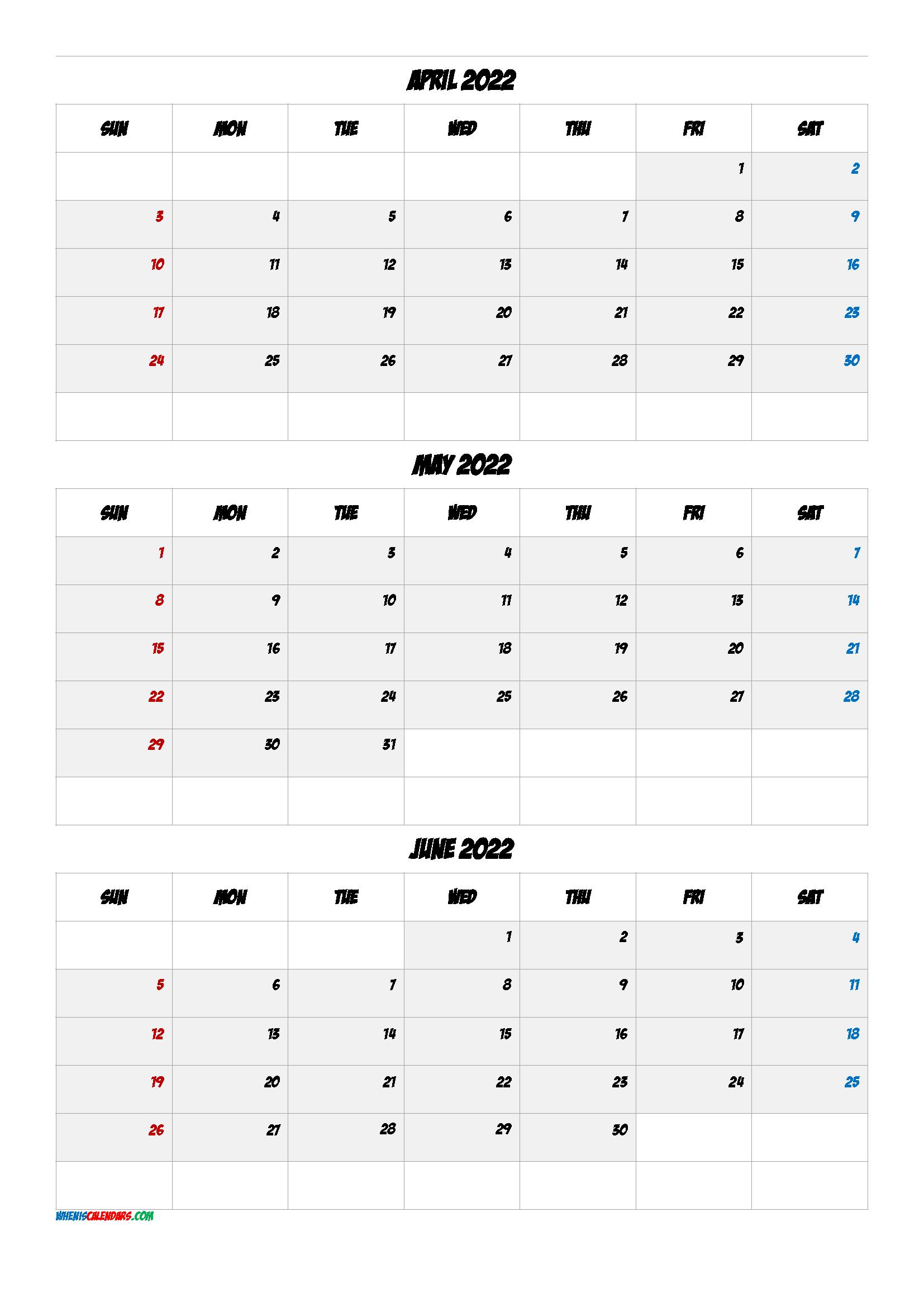 Calendar April May June 2022 PDF