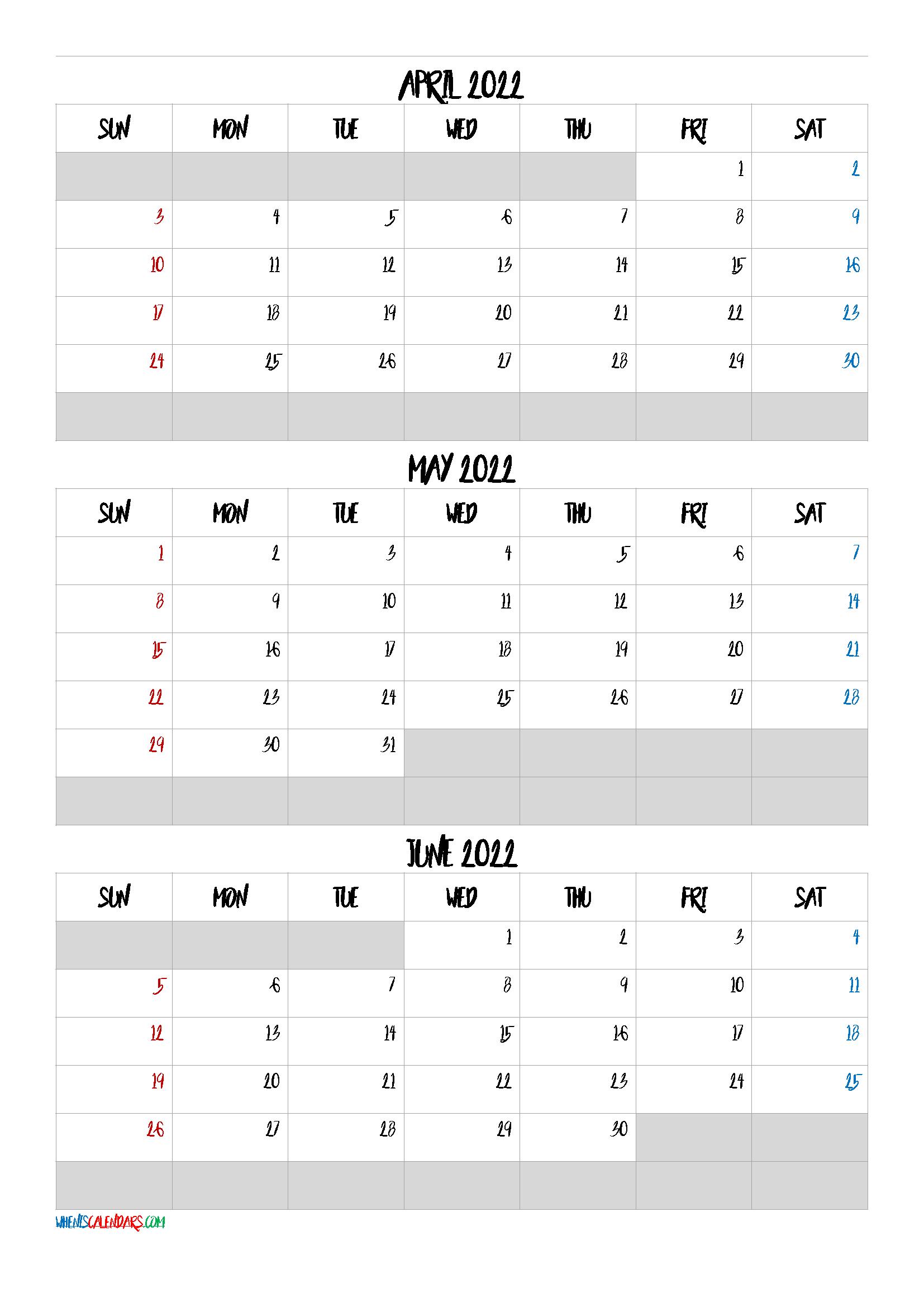 Calendar April May June 2022