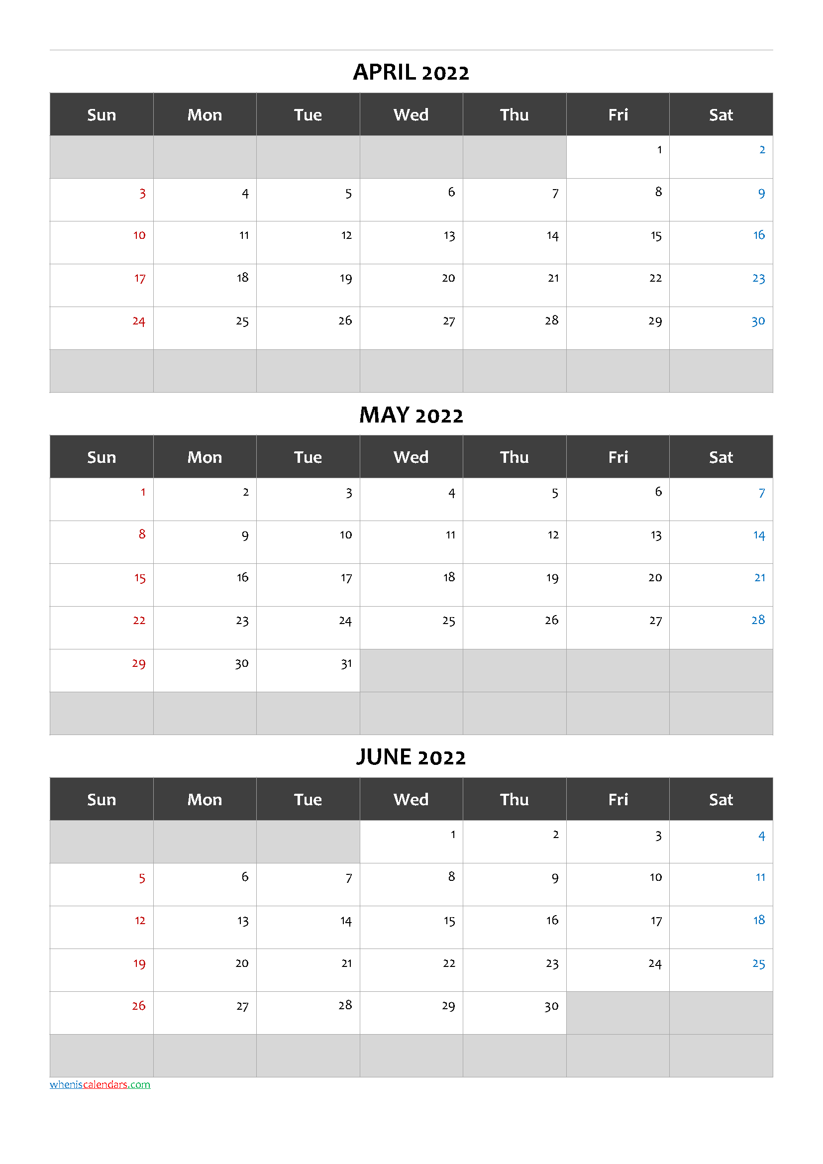 Printable Calendar April May June 2022