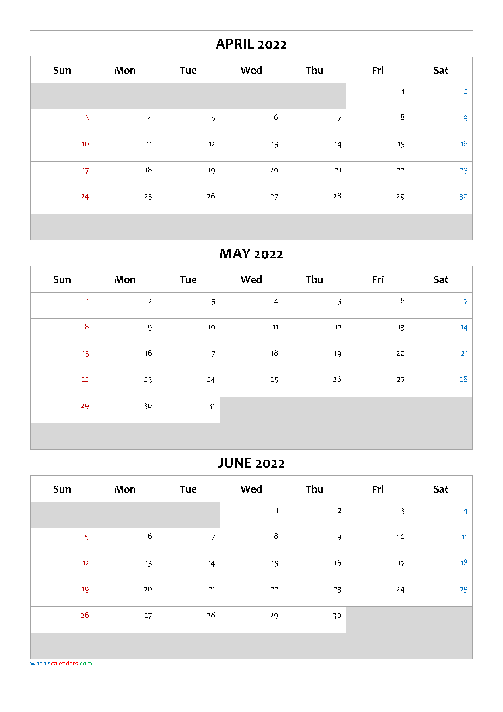 April May June 2022 Calendar Template