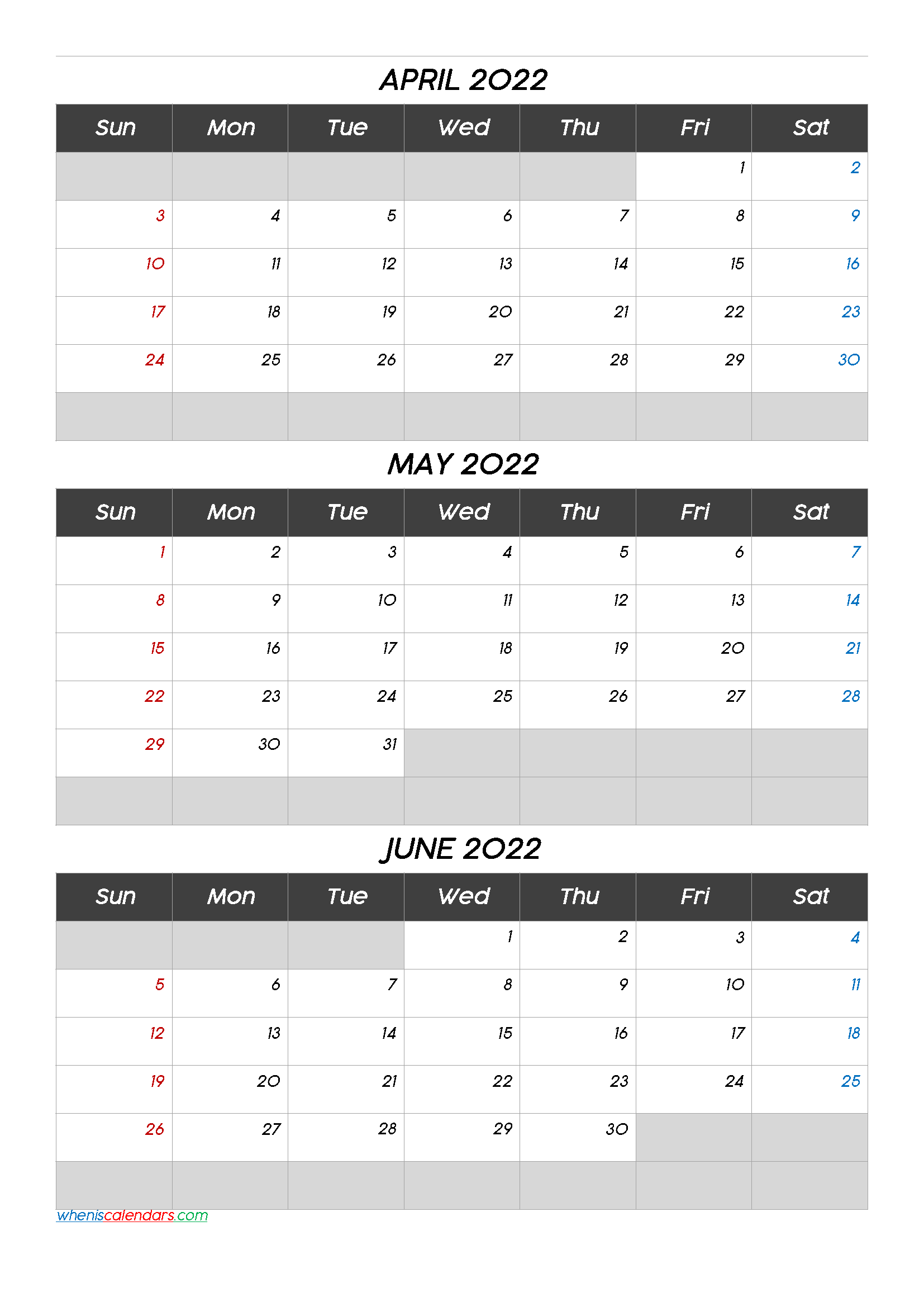 April May June 2022 Printable Calendar