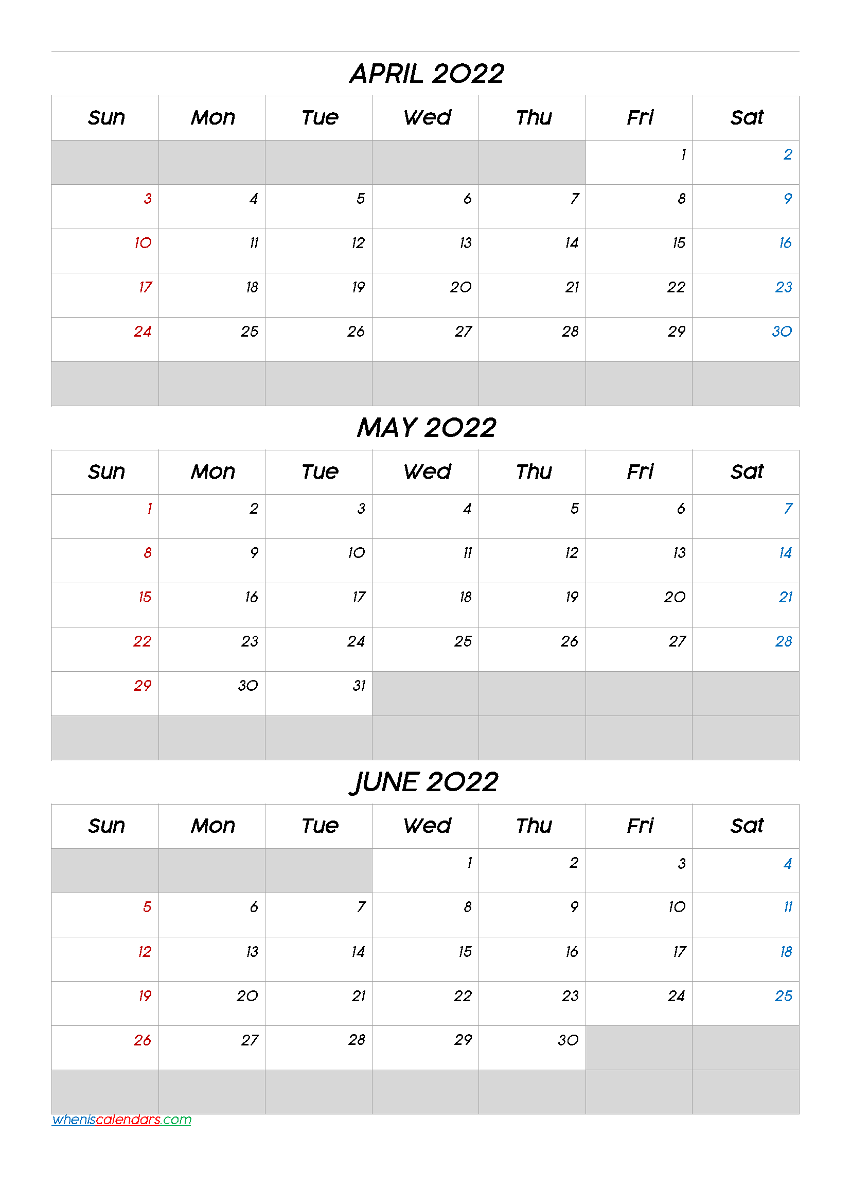April May June 2022 Free Printable 3 Month Calendar