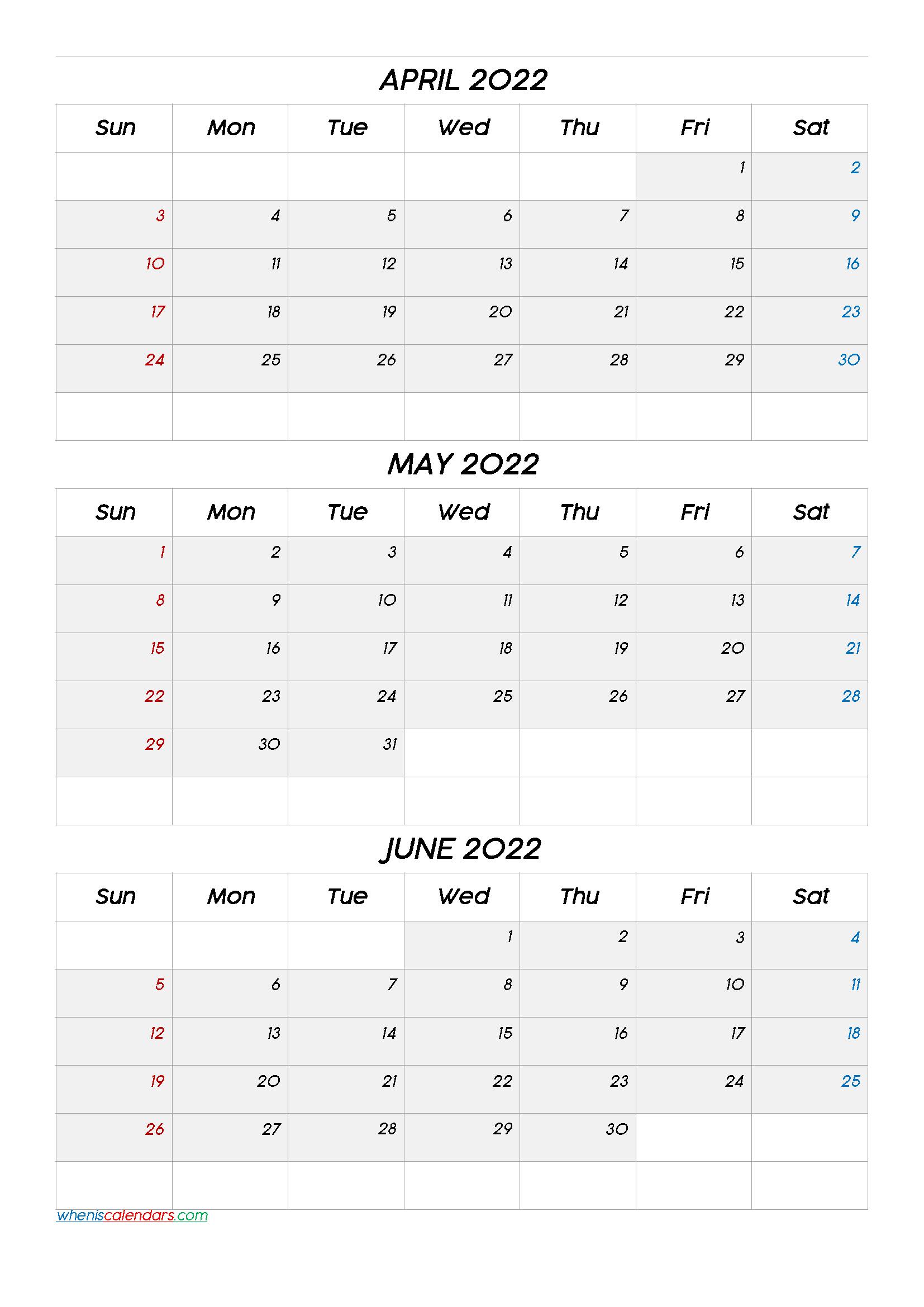 April May June 2022 Calendar Printable Free