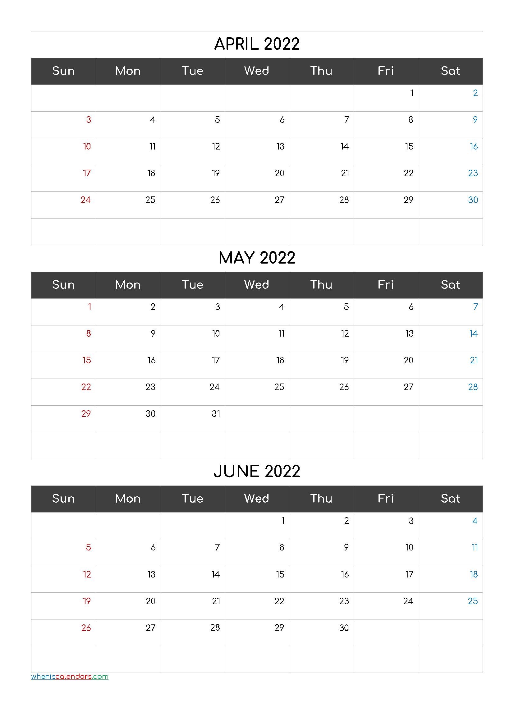 Free Printable 3 Month Calendar2022 April May June