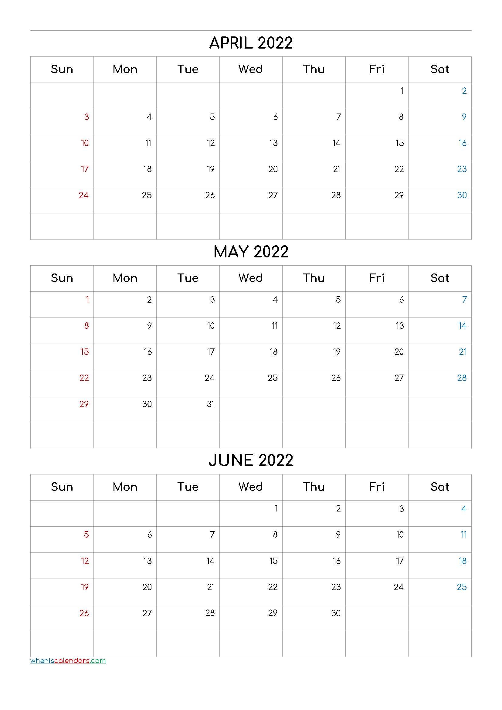 April May June 2022 Calendar Printable Free