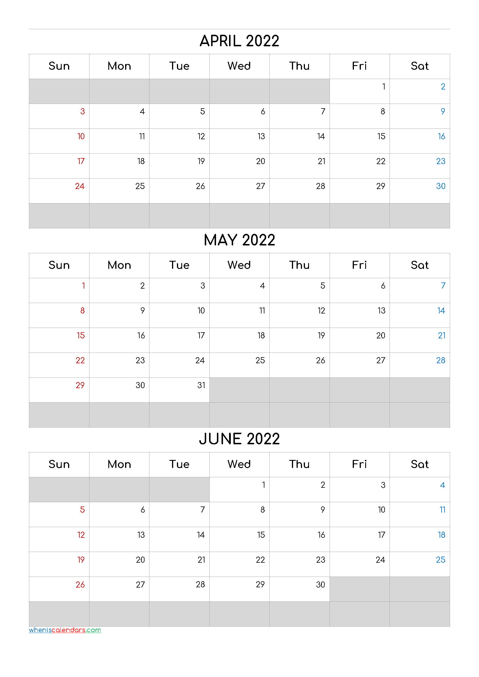 April May June 2022 Calendar Template