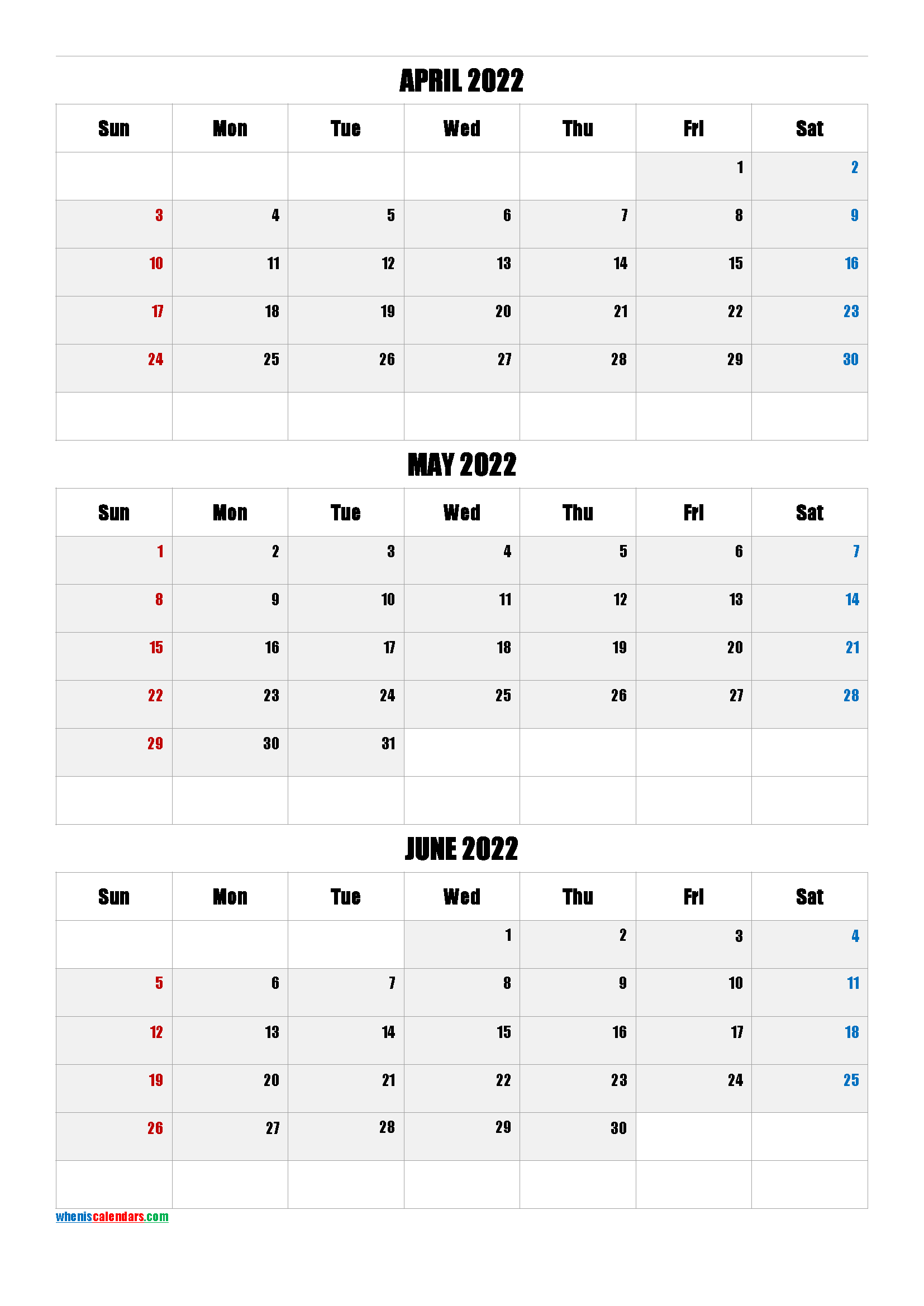 April May June 2022 Three Month Calendar