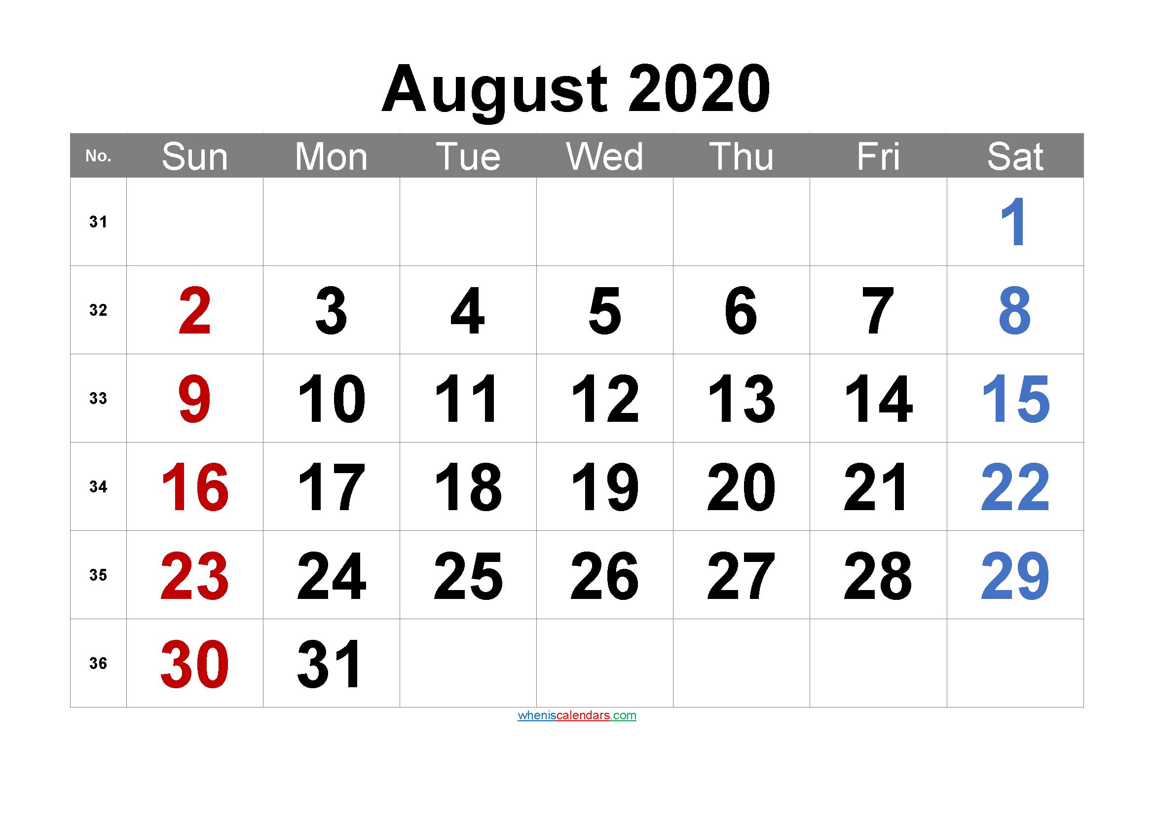 Printable AUGUST 2020 Calendar with Holidays