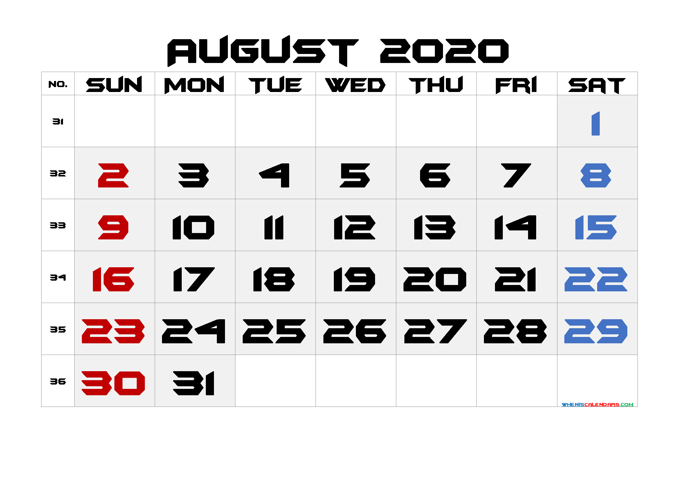 Free August 2020 Printable Calendar with Holidays