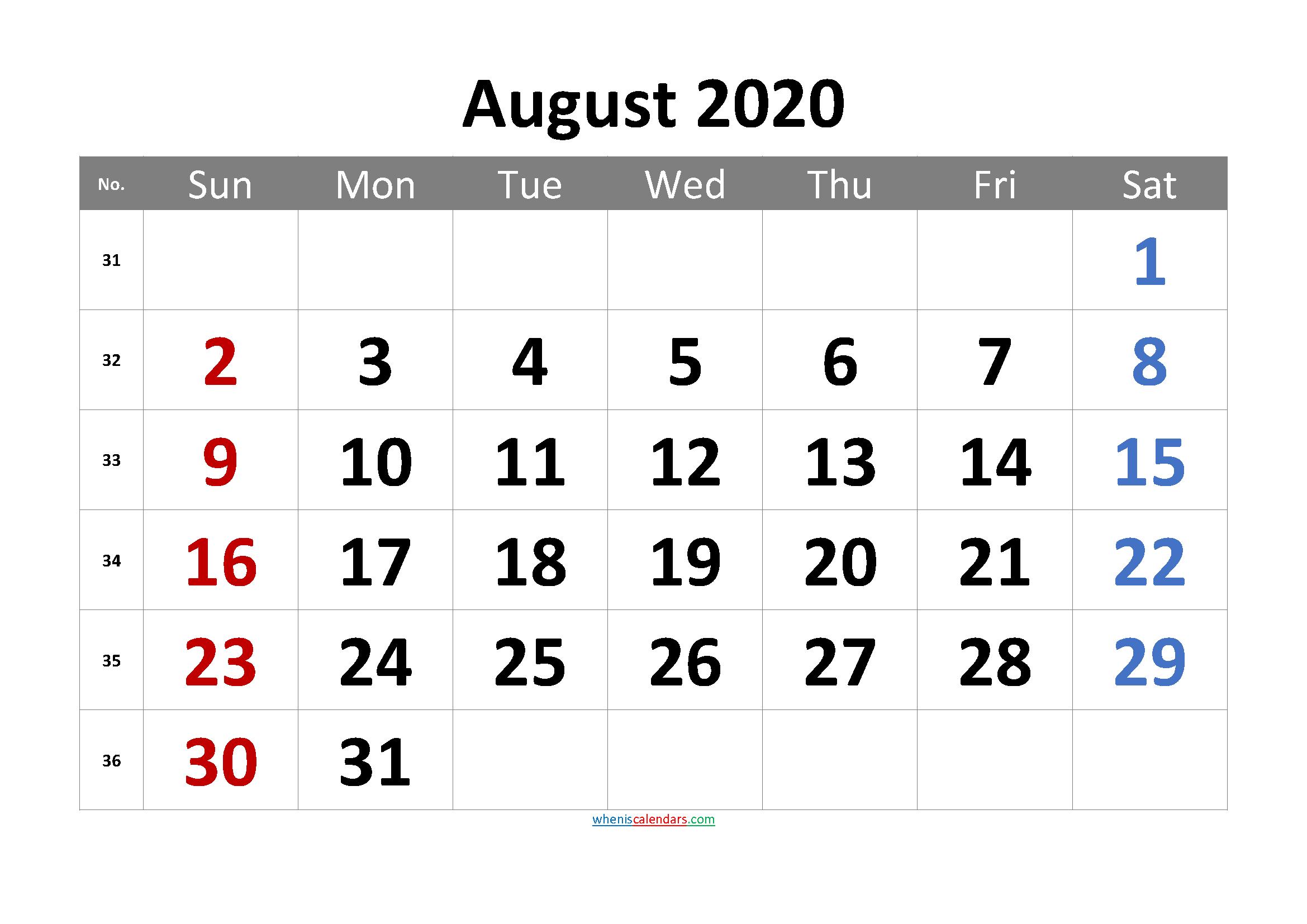 Free AUGUST 2020 Calendar Printable