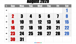 August 2020 Printable Calendar with Holidays