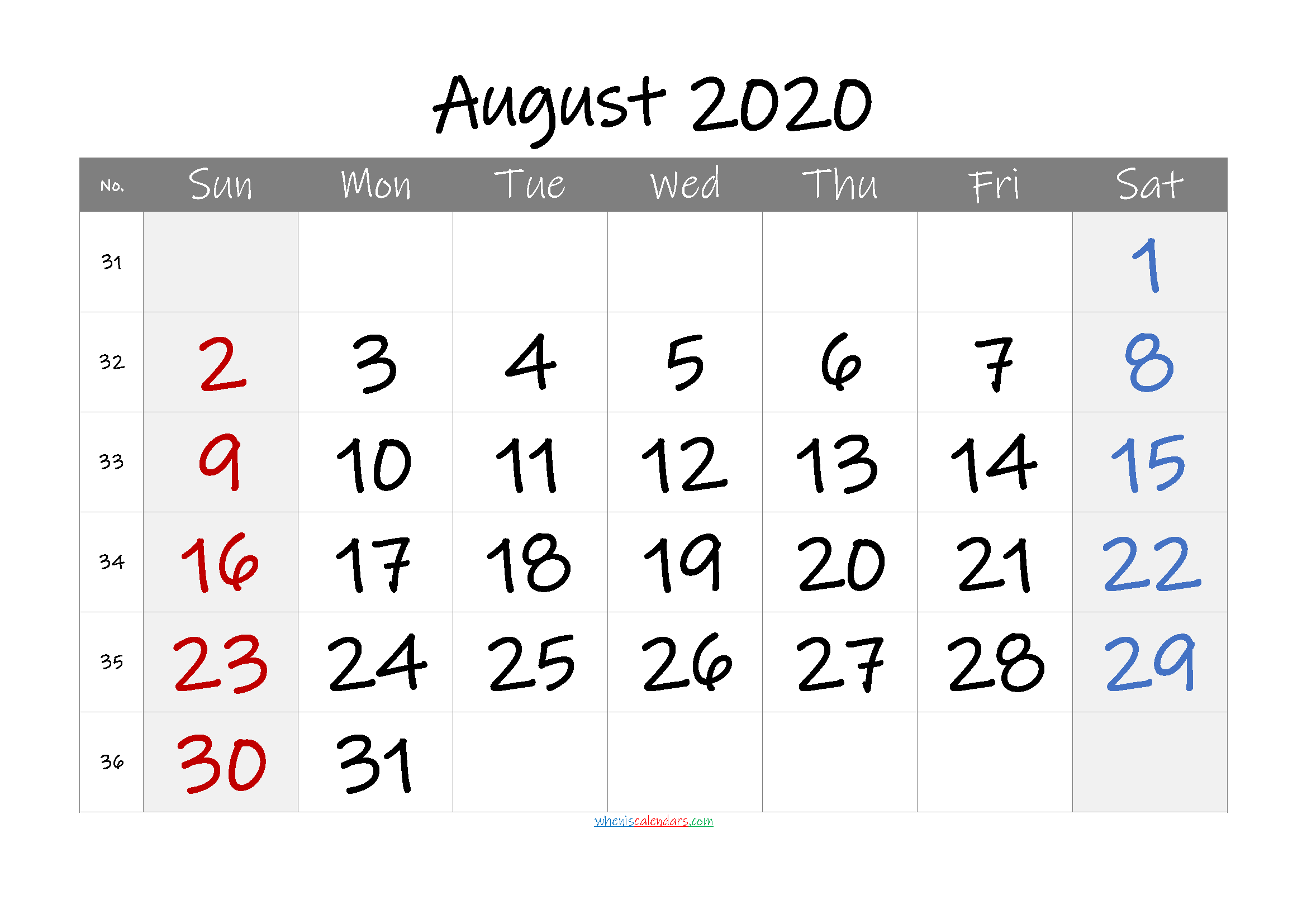 August 2020 Free Printable Calendar with Holidays