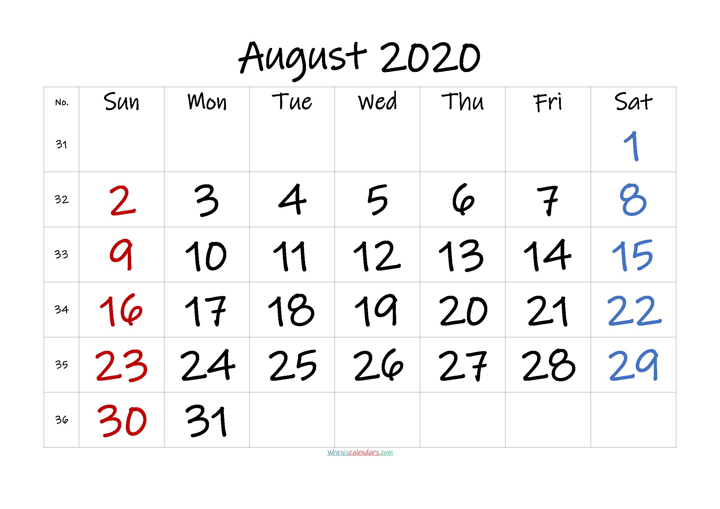 August 2020 Printable Calendar with Holidays