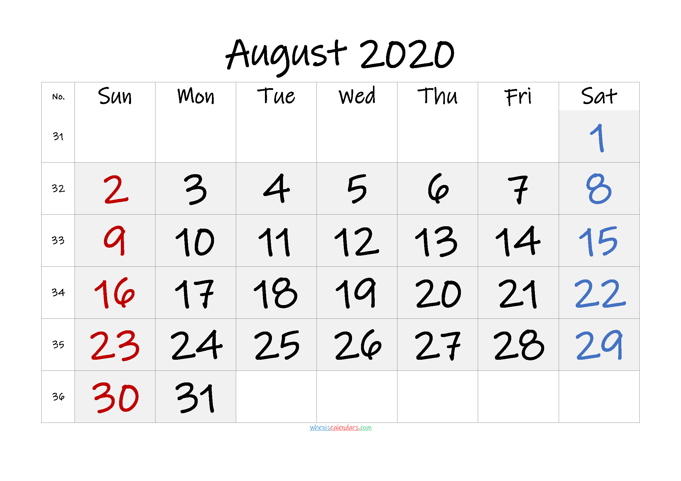 Free Printable AUGUST 2020 Calendar with Holidays