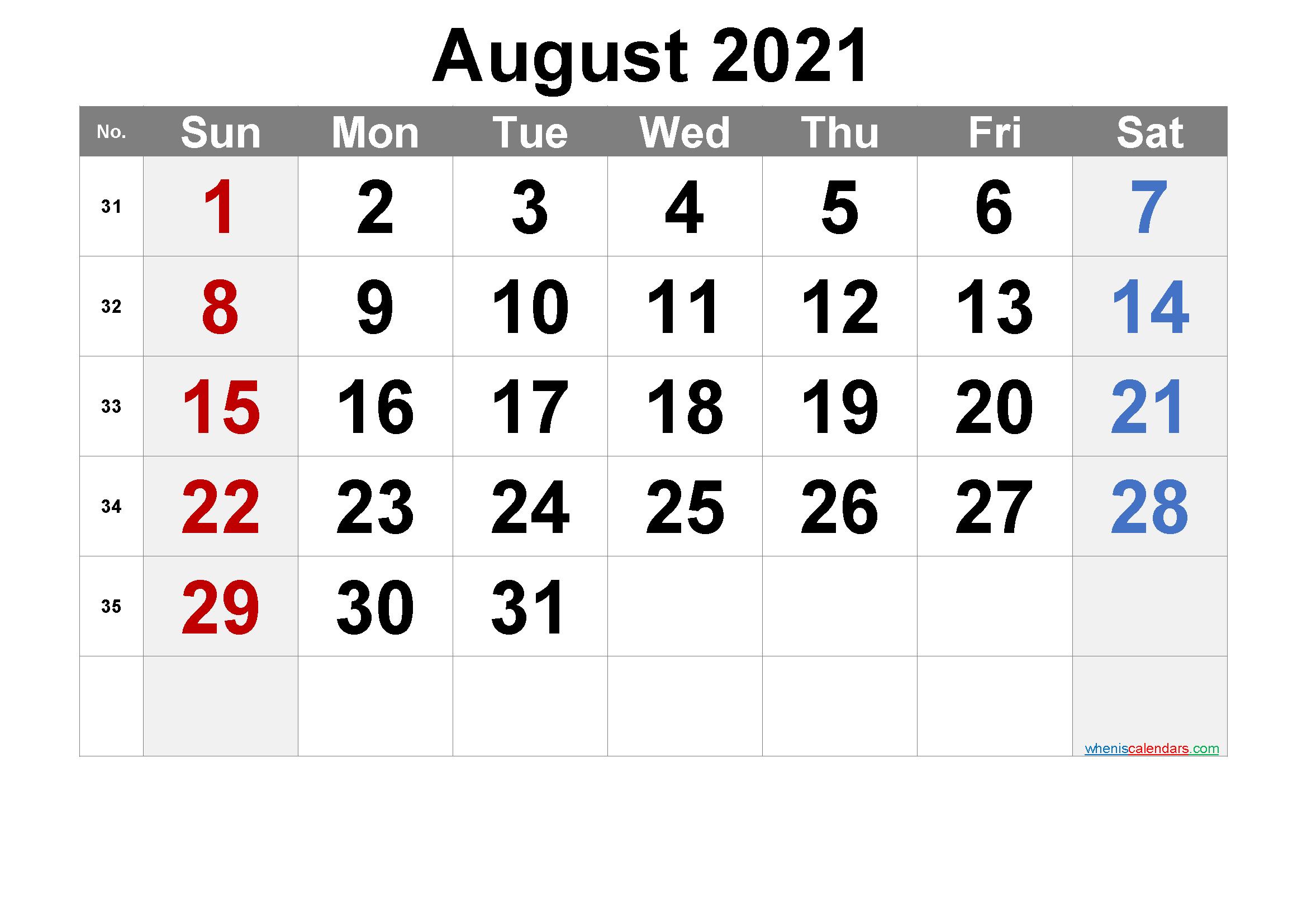 Free Printable August 2021 Calendar