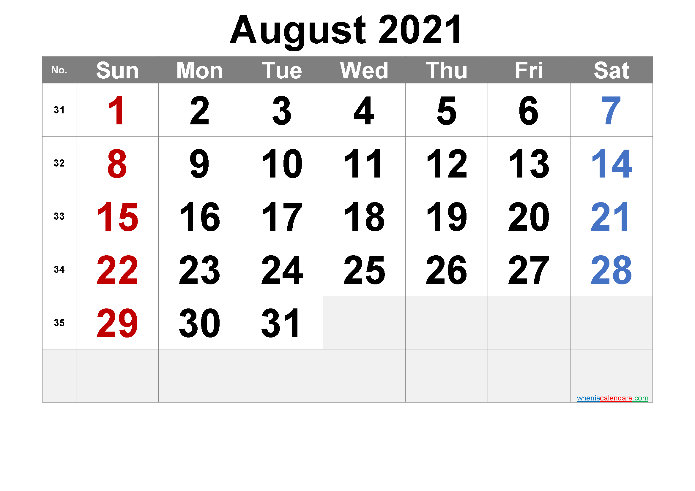 AUGUST 2021 Printable Calendar with Holidays