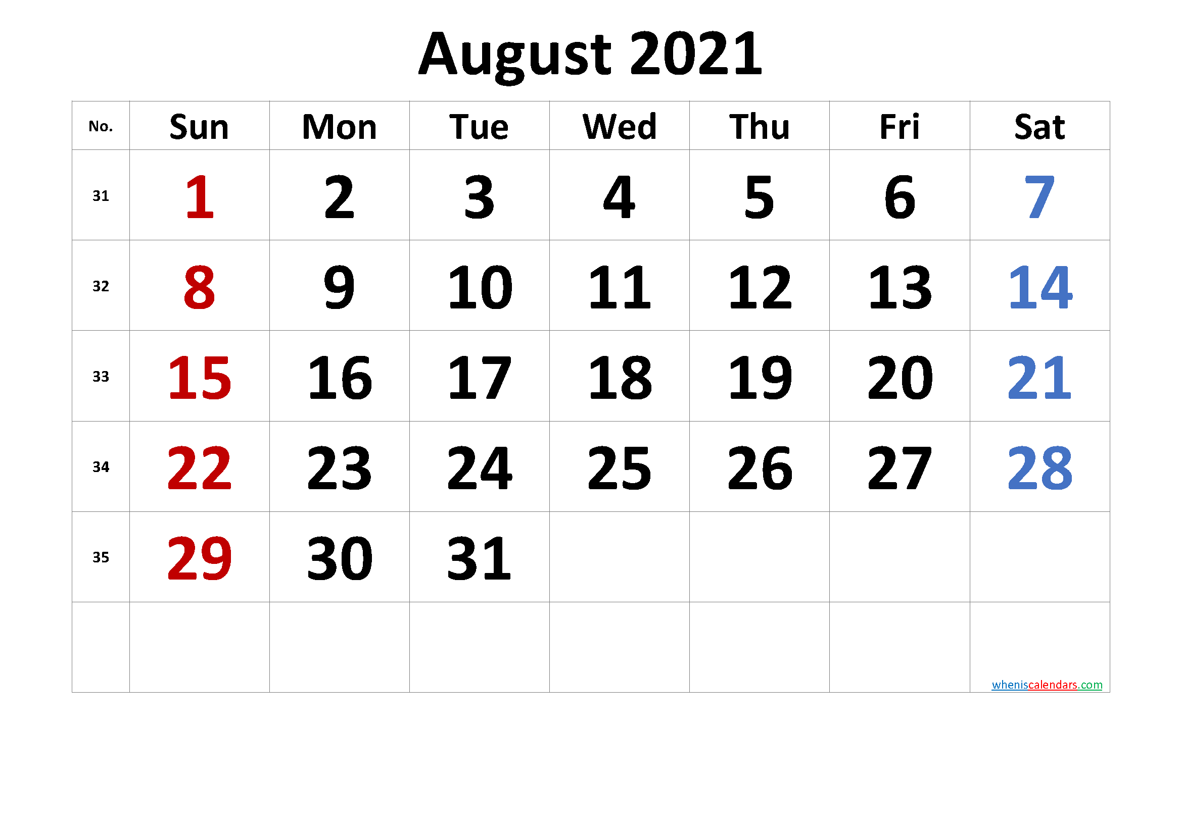 Printable August 2021 Calendar with Holidays