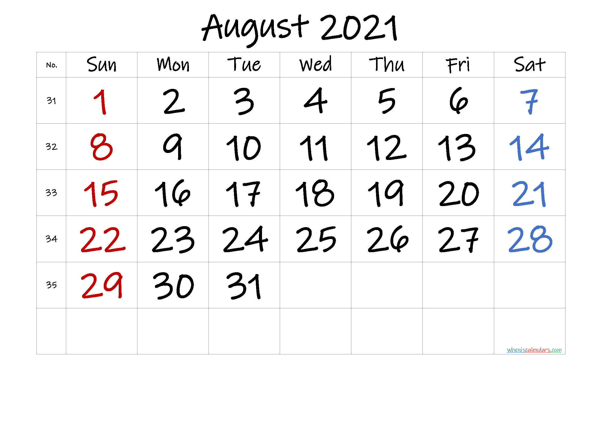 Free August 2021 Monthly Calendar Template Word