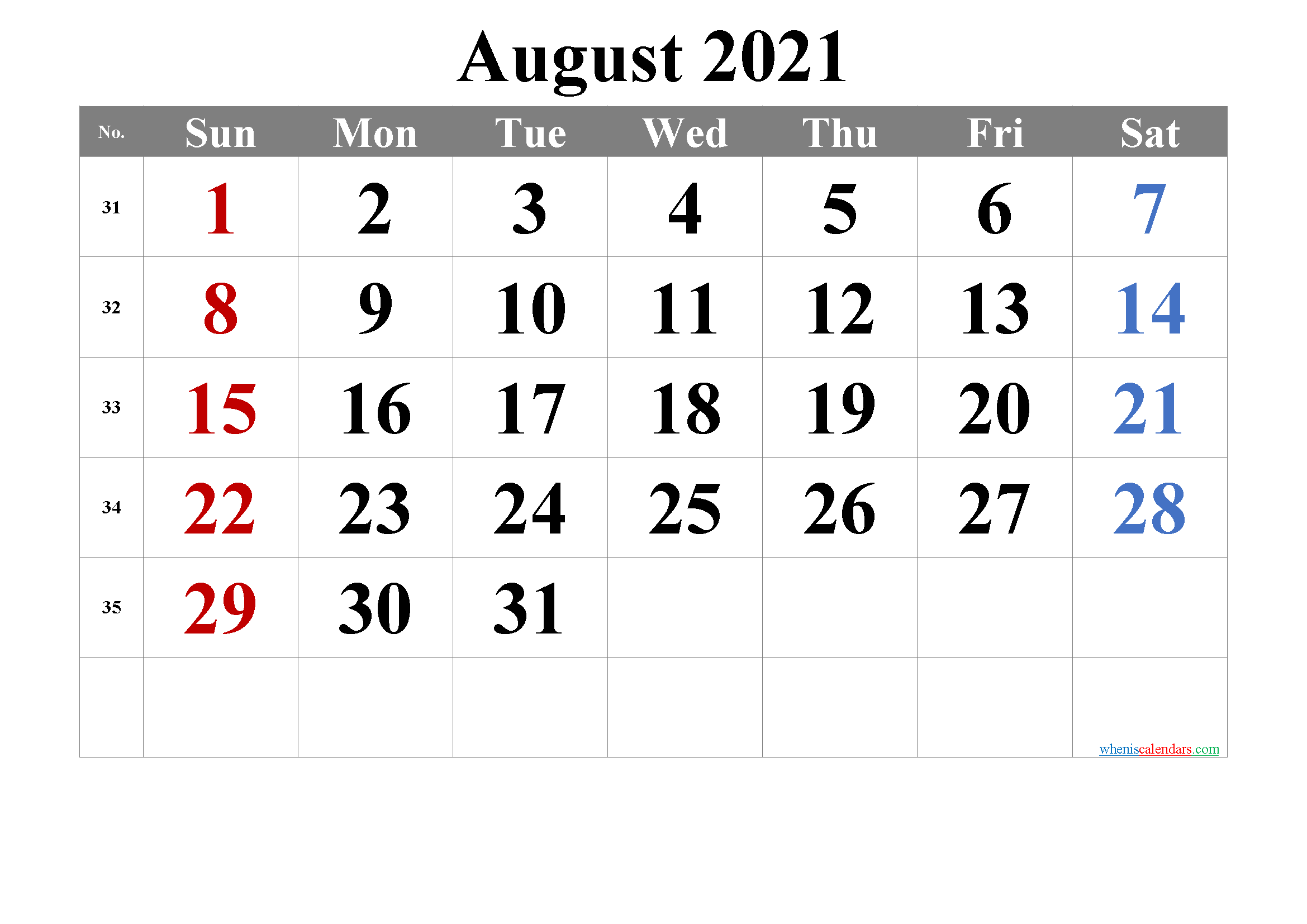 August 2021 Calendar with Holidays Printable