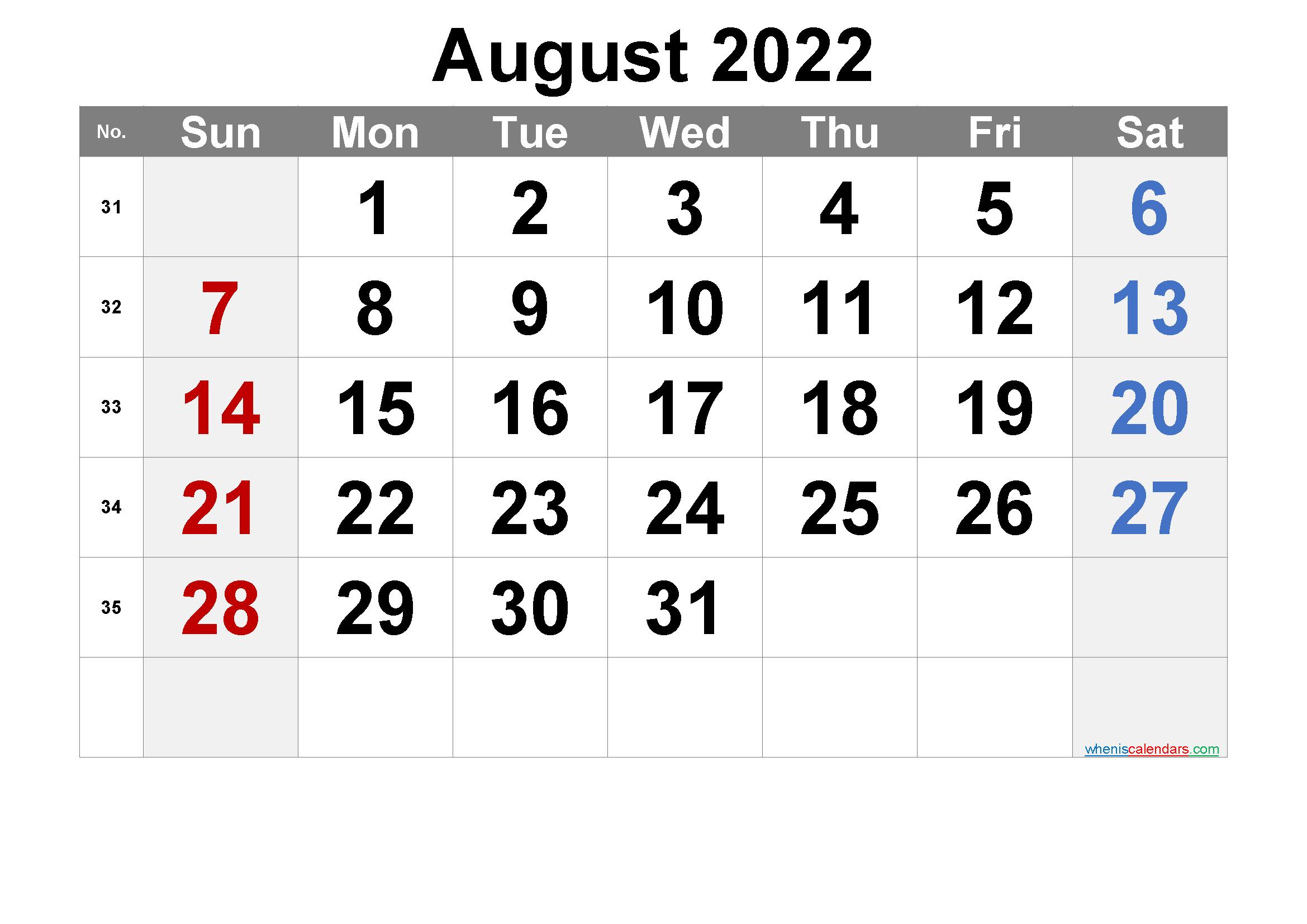 Printable August 2022 Calendar Word