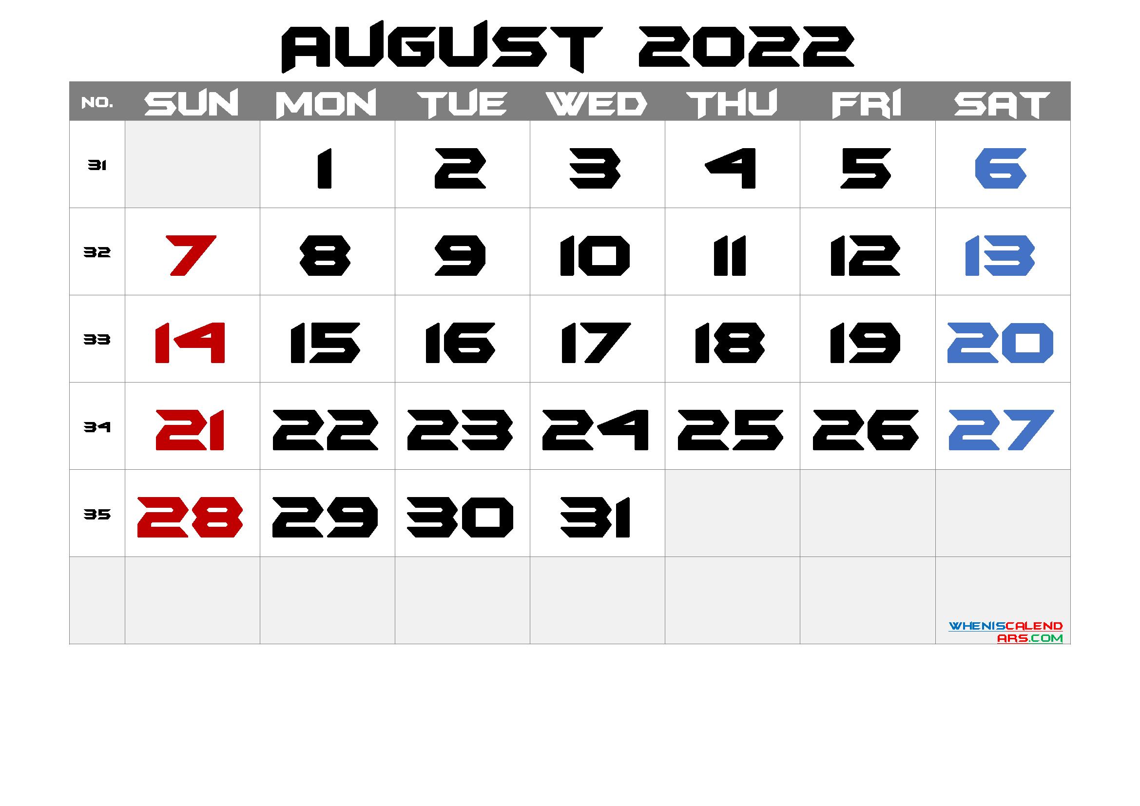 Free August 2022 Calendar Printable