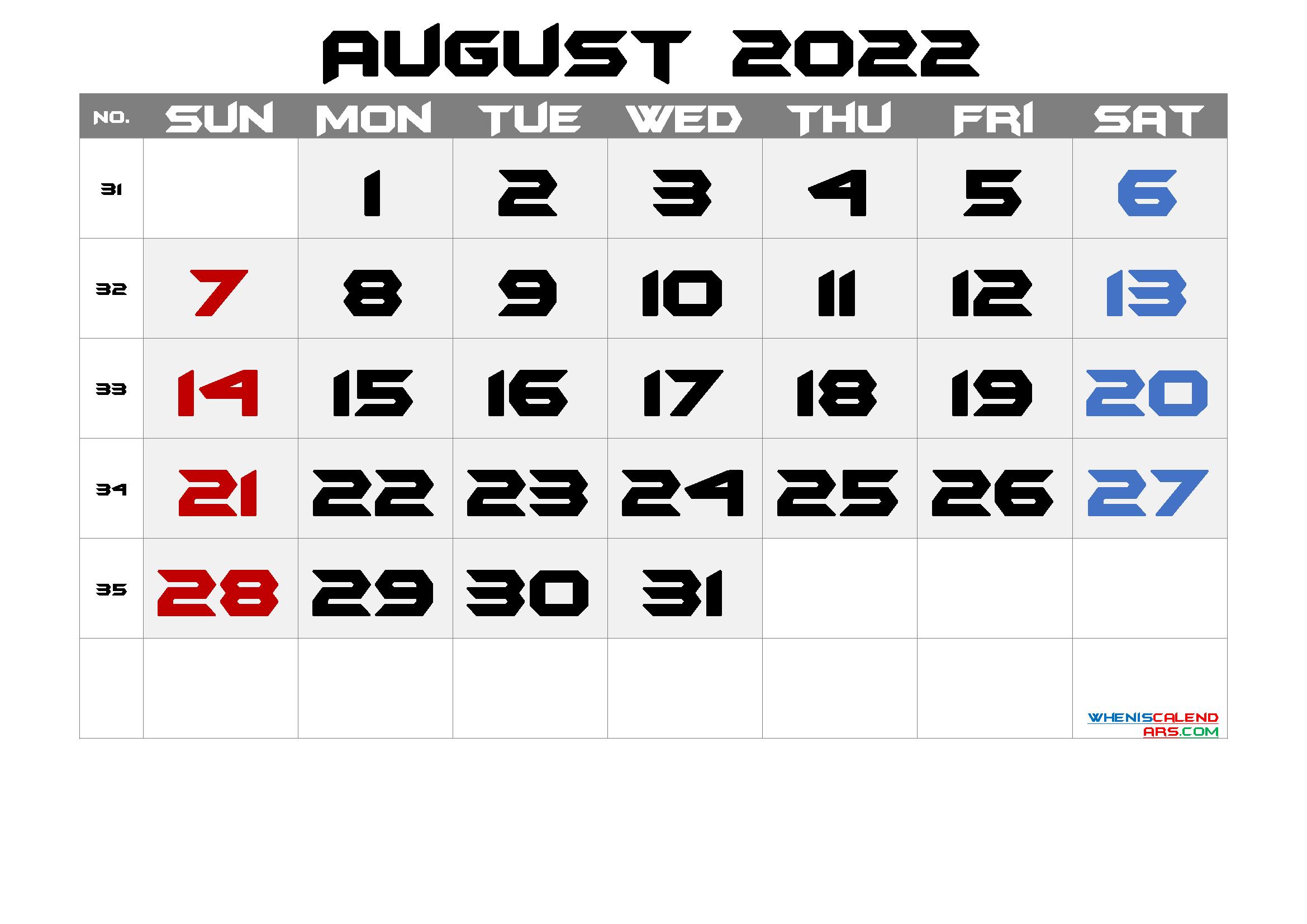 Printable August 2022 Calendar with Holidays