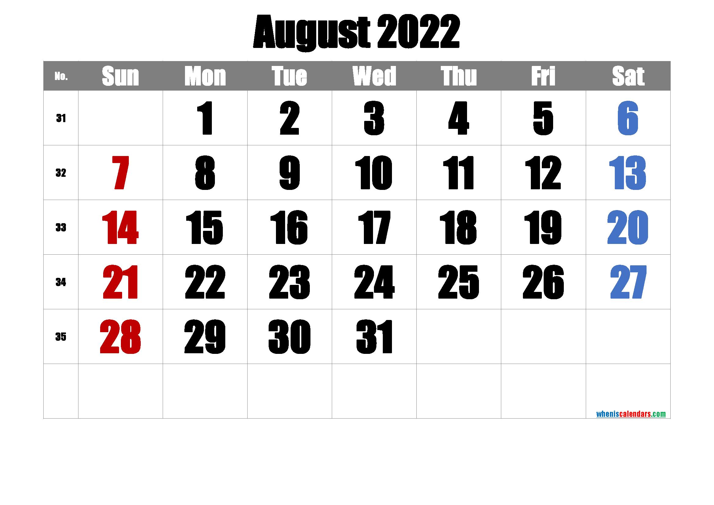 Printable August 2022 Calendar PDF