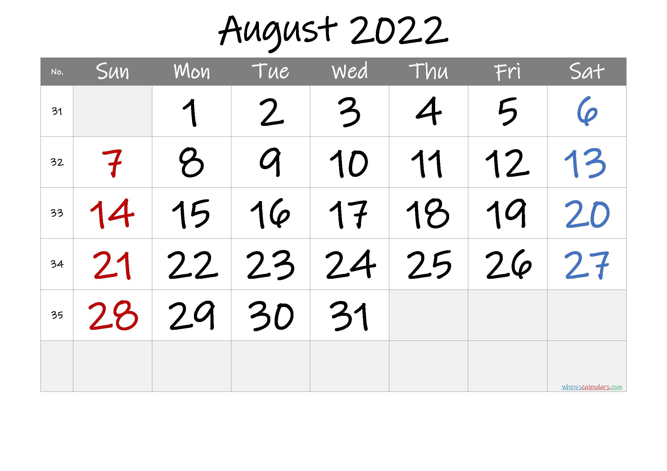 August 2022 Free Printable Calendar