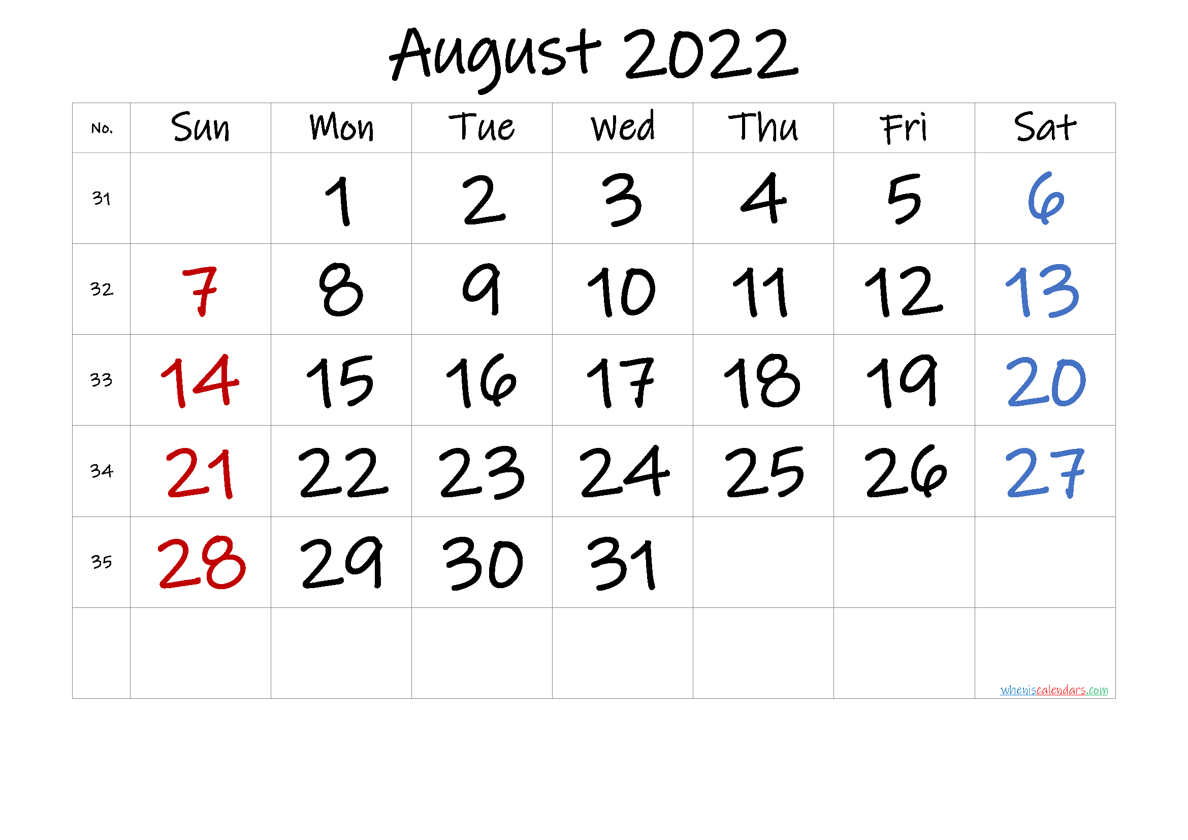 AUGUST 2022 Printable Calendar with Holidays
