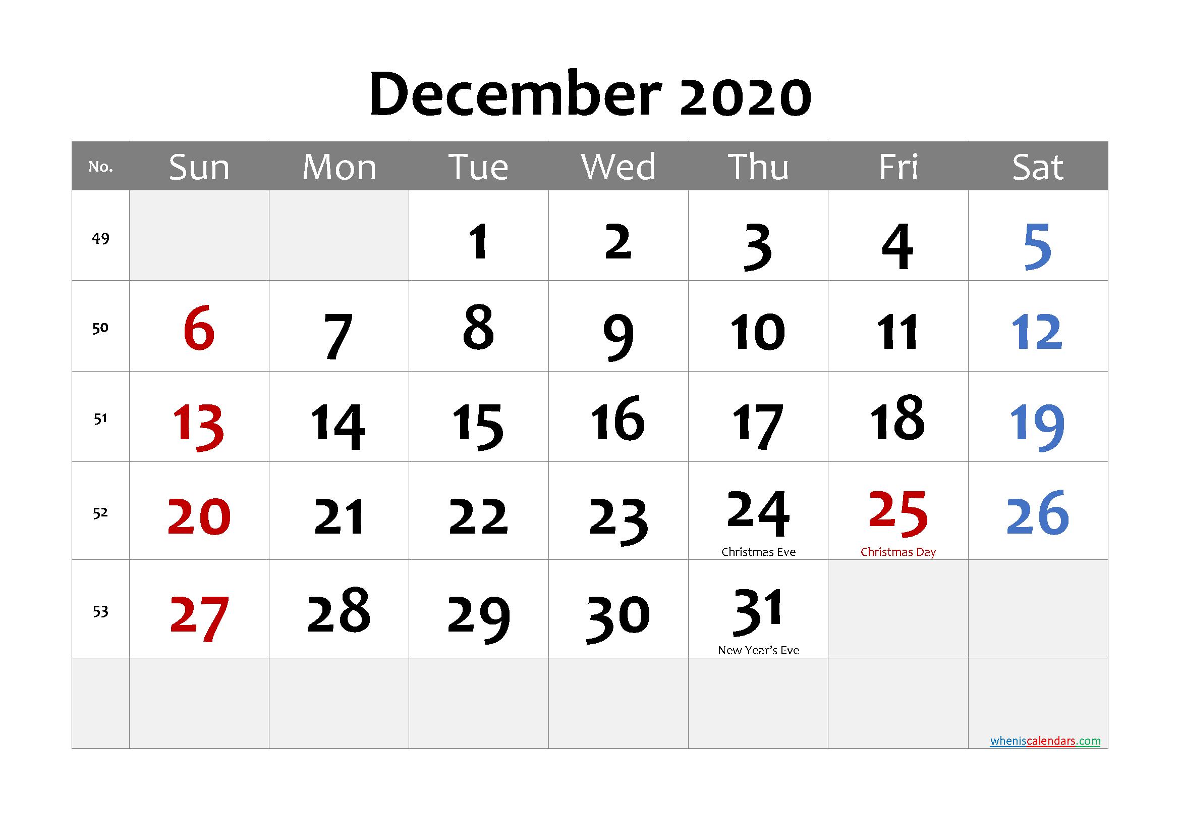 Printable December 2020 Calendar Word
