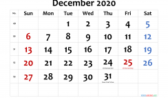 December 2020 Printable Calendar with Holidays