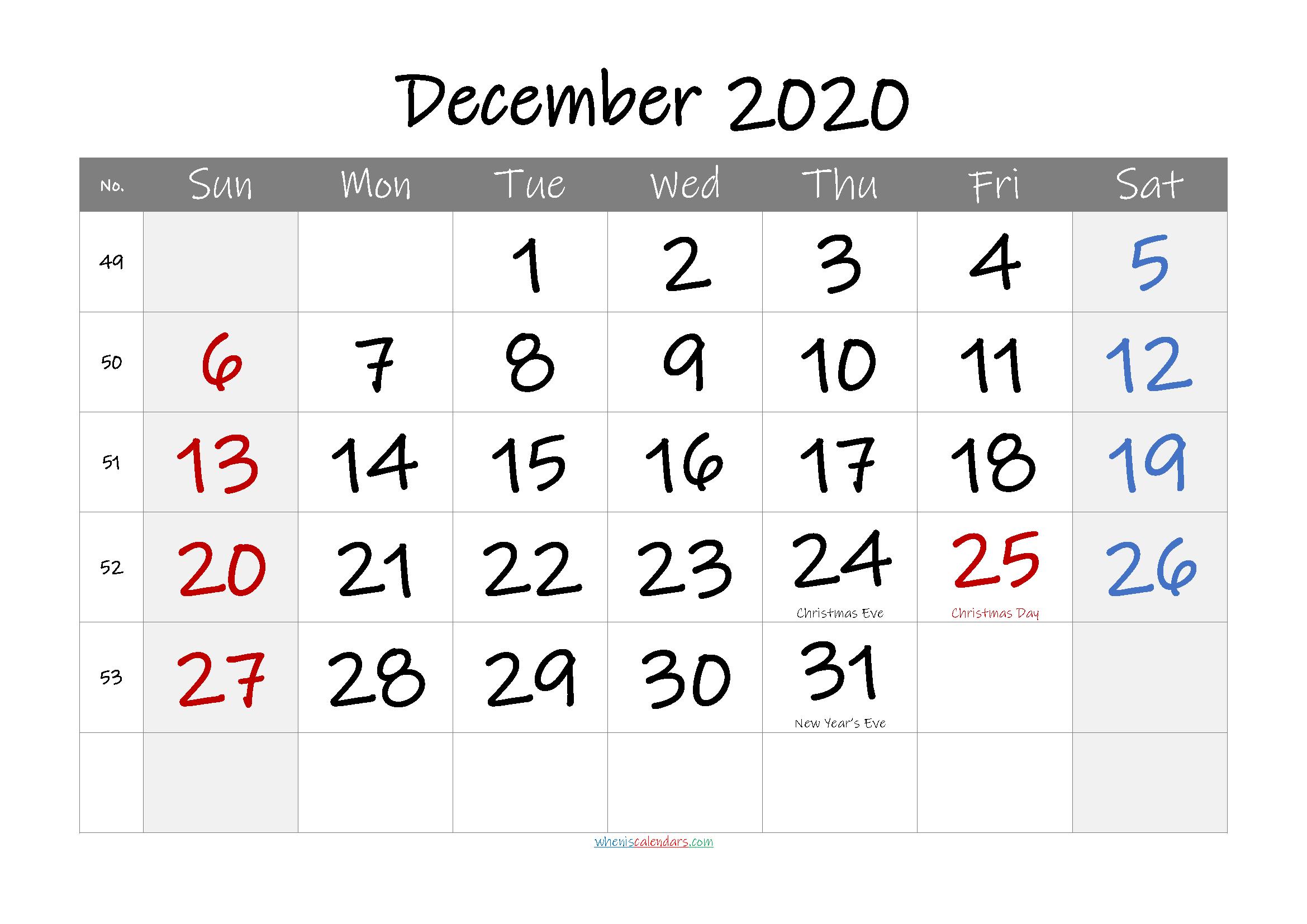 December 2020 Free Printable Calendar with Holidays