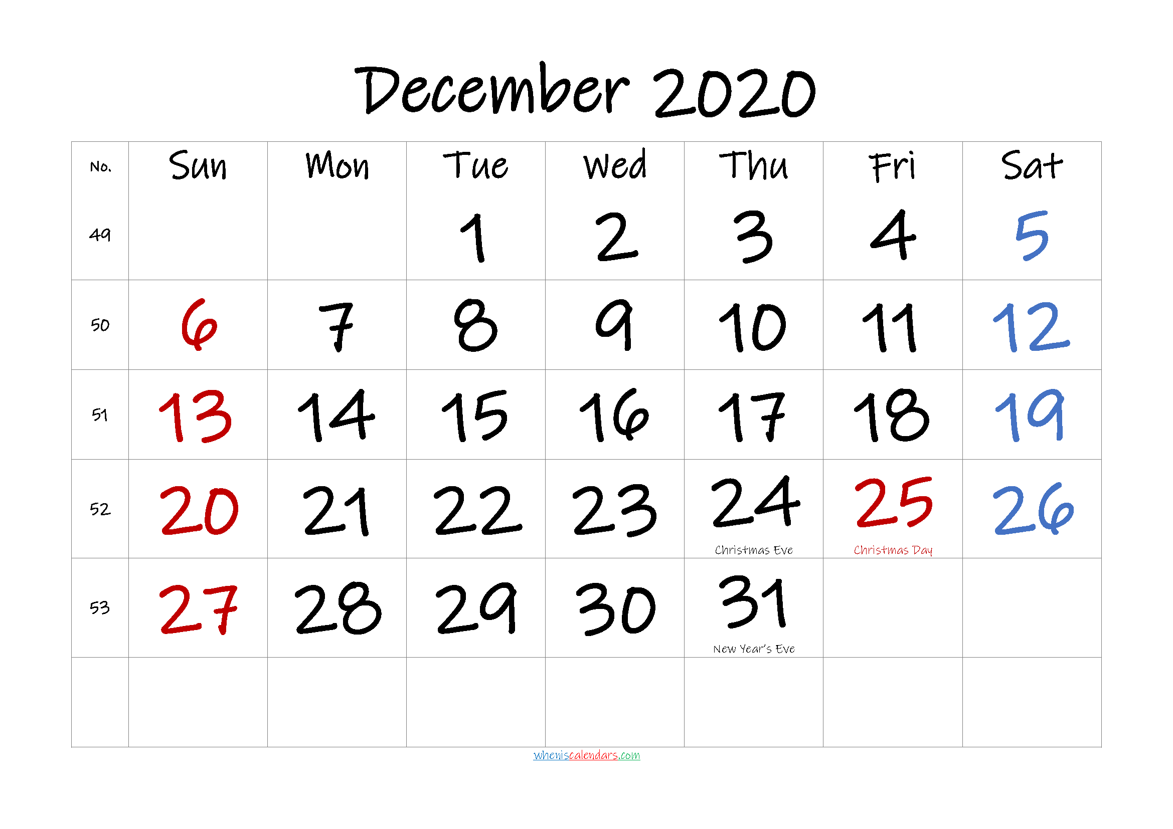 Free December 2020 Monthly Calendar Template Word